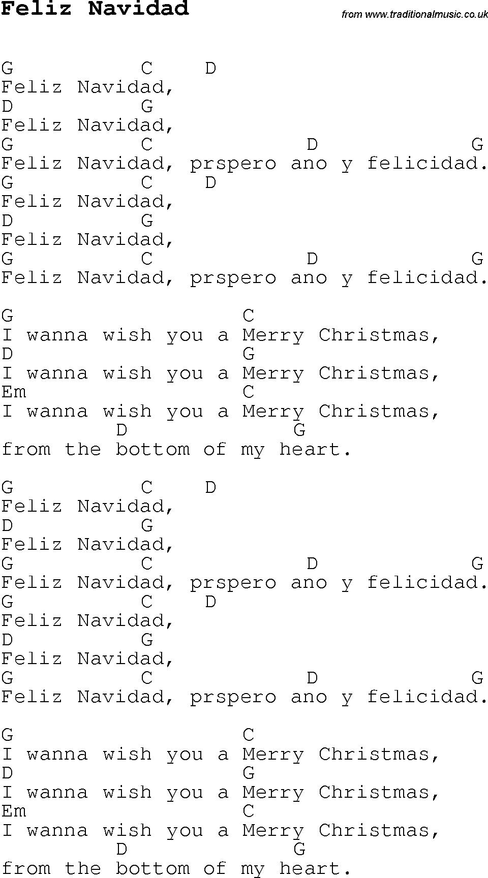 Feliz Navidad Chords Christmas Carolsong Lyrics With Chords For Feliz Navidad