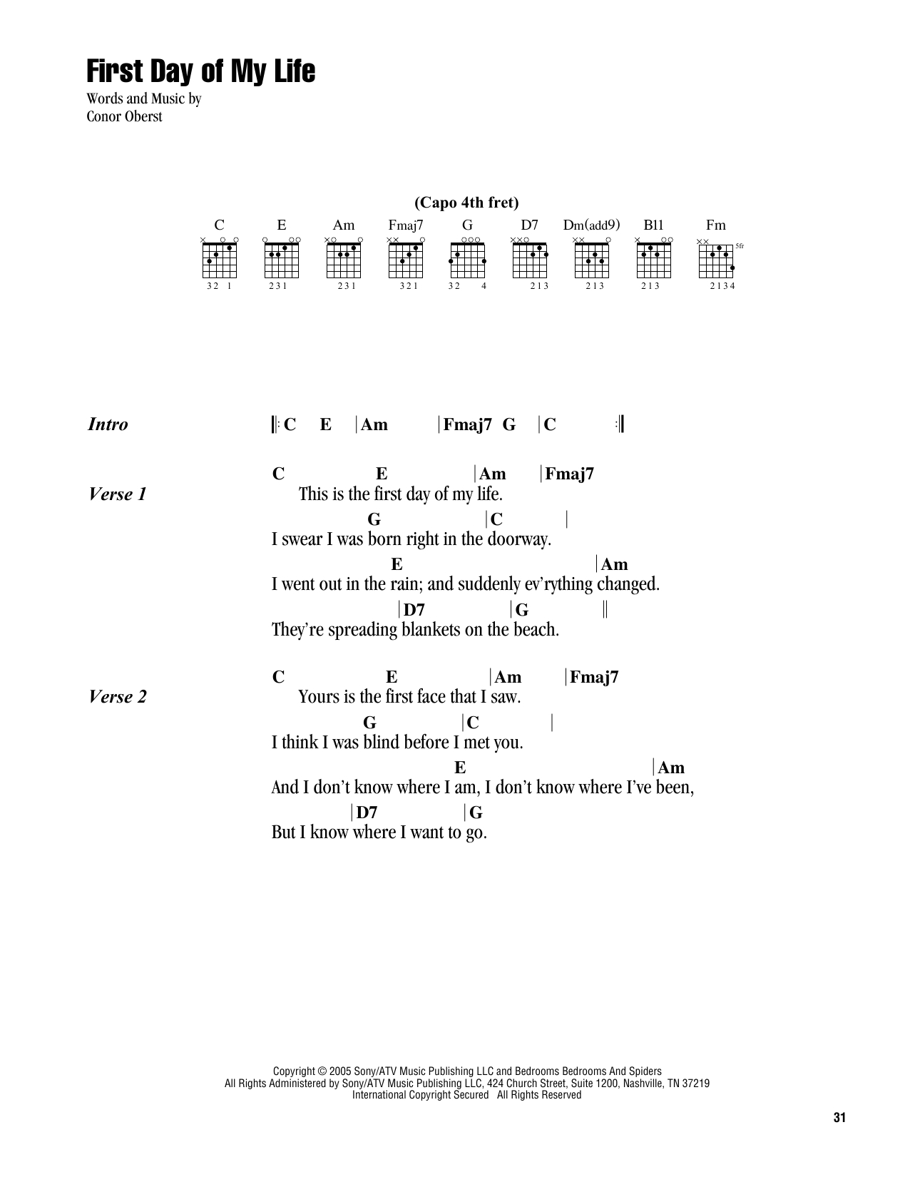 First Day Of My Life Chords First Day Of My Life Bright Eyes Piano Vocal Guitar Right Hand Melody Digital Sheet Music