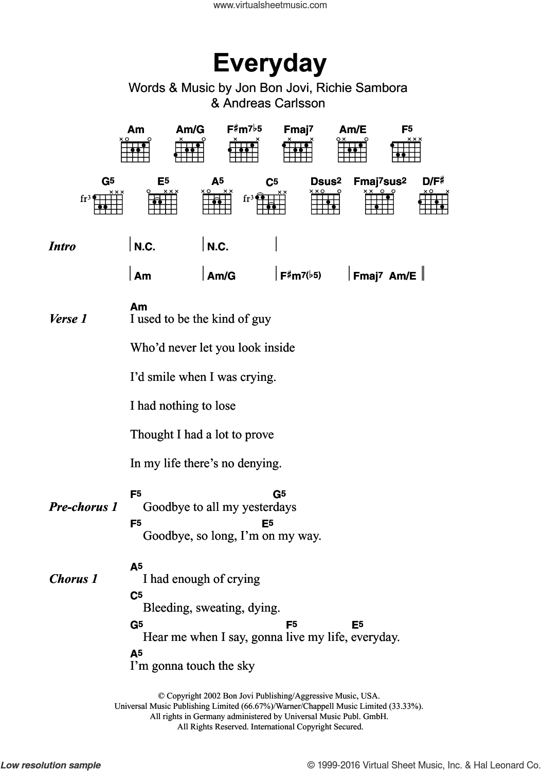 First Day Of My Life Chords Jovi Everyday Sheet Music For Guitar Chords Pdf