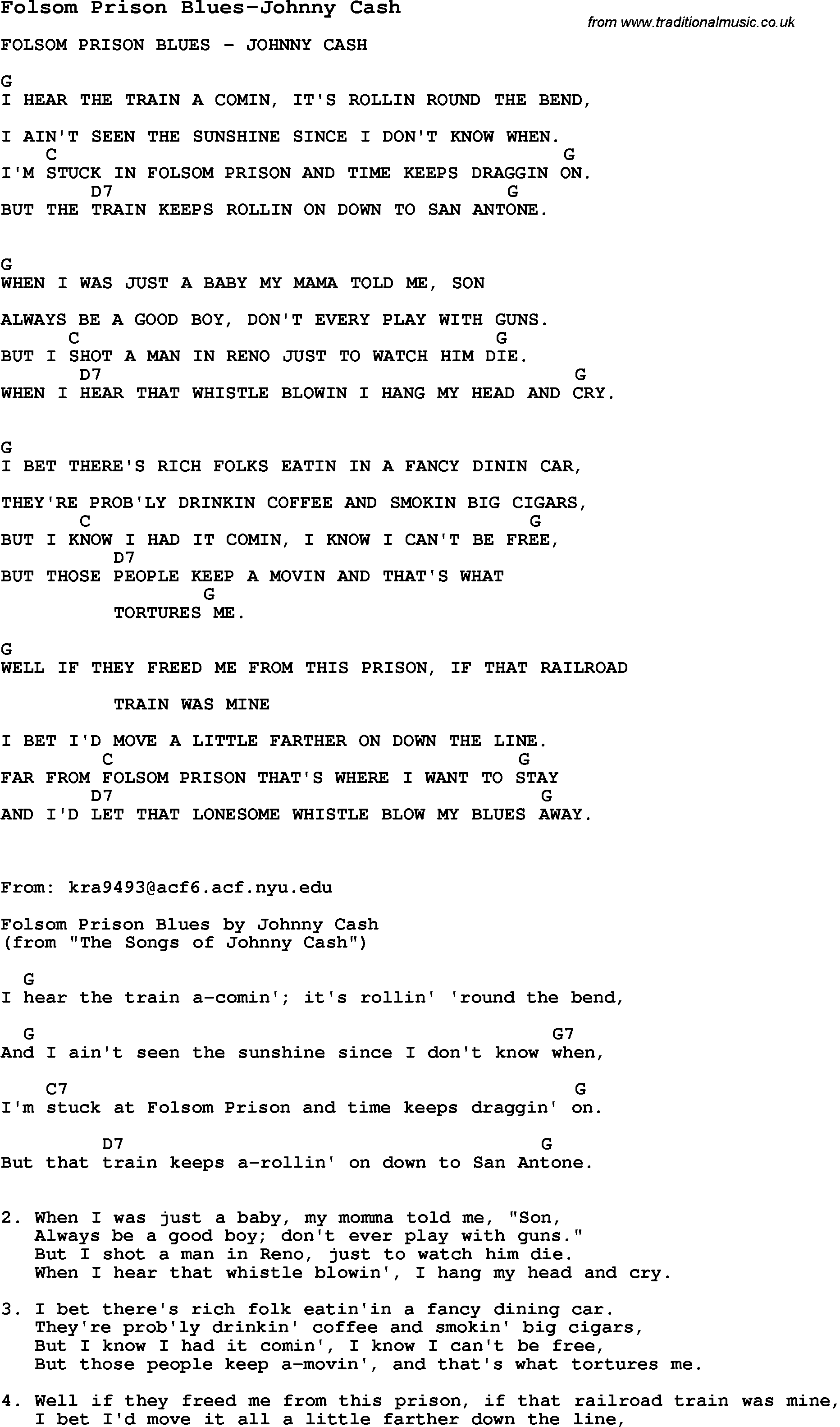 Folsom Prison Blues Chords Blues Guitar Lesson For Folsom Prison Blues Johnny Cash With Chords