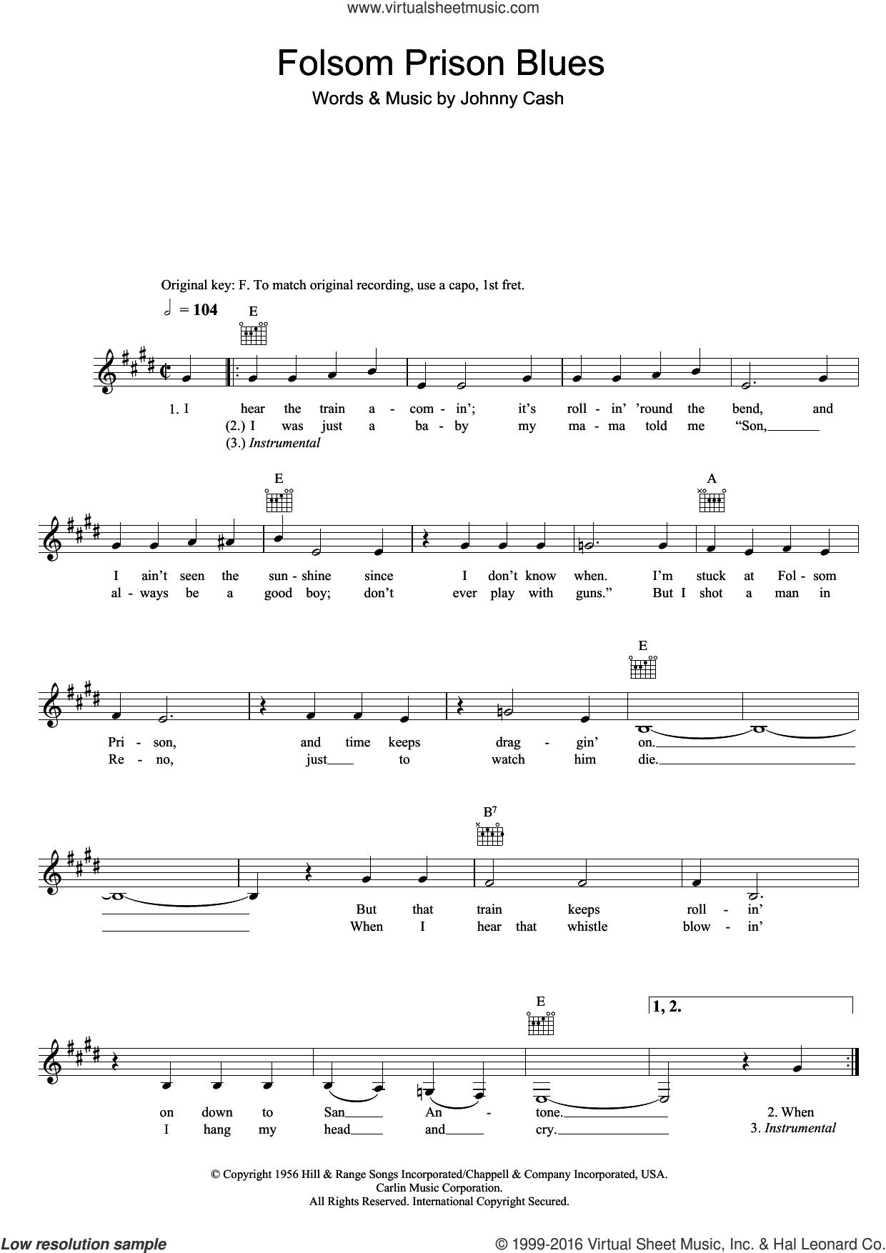 Folsom Prison Blues Chords Cash Folsom Prison Blues Sheet Music Fake Book Pdf