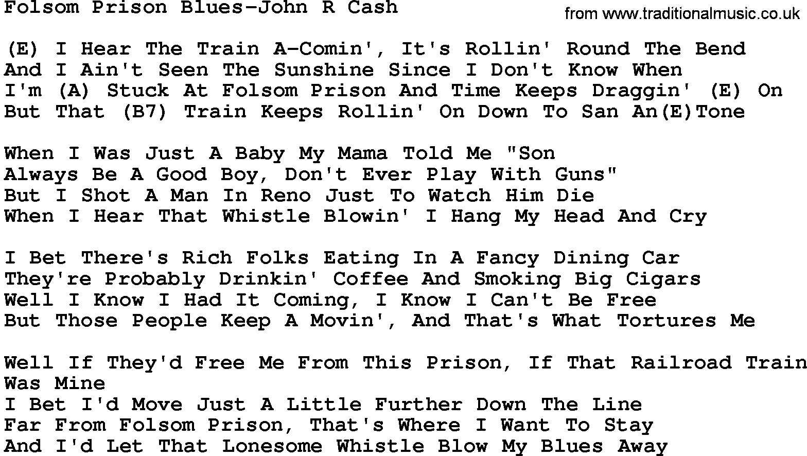 Folsom Prison Blues Chords Country Musicfolsom Prison Blues John R Cash Lyrics And Chords