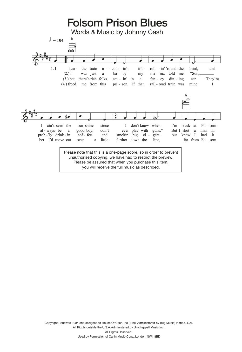Folsom Prison Blues Chords Folsom Prison Blues Johnny Cash Piano Vocal Guitar Right Hand Melody Digital Sheet Music