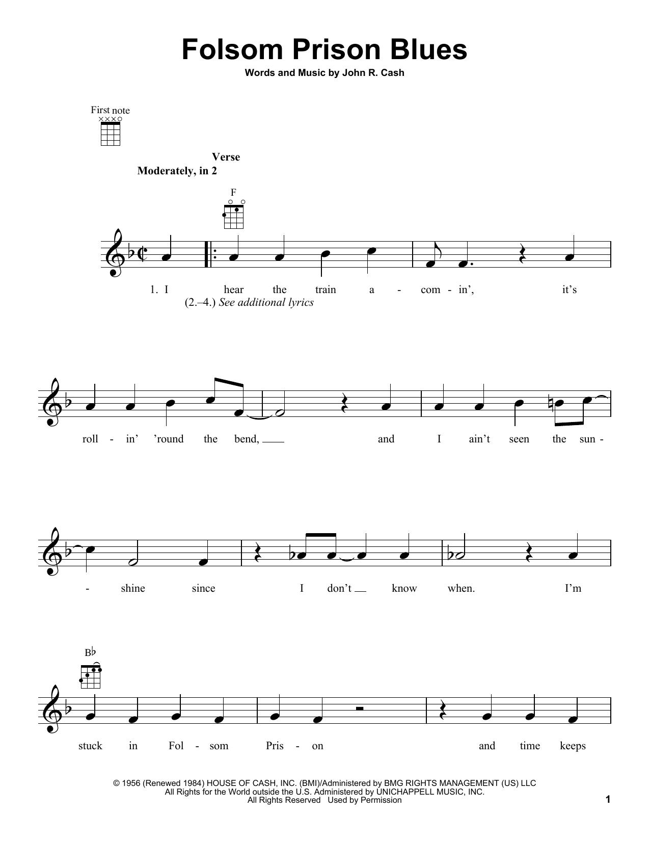 Folsom Prison Blues Chords Folsom Prison Blues Johnny Cash Ukulele Guitar Instructor