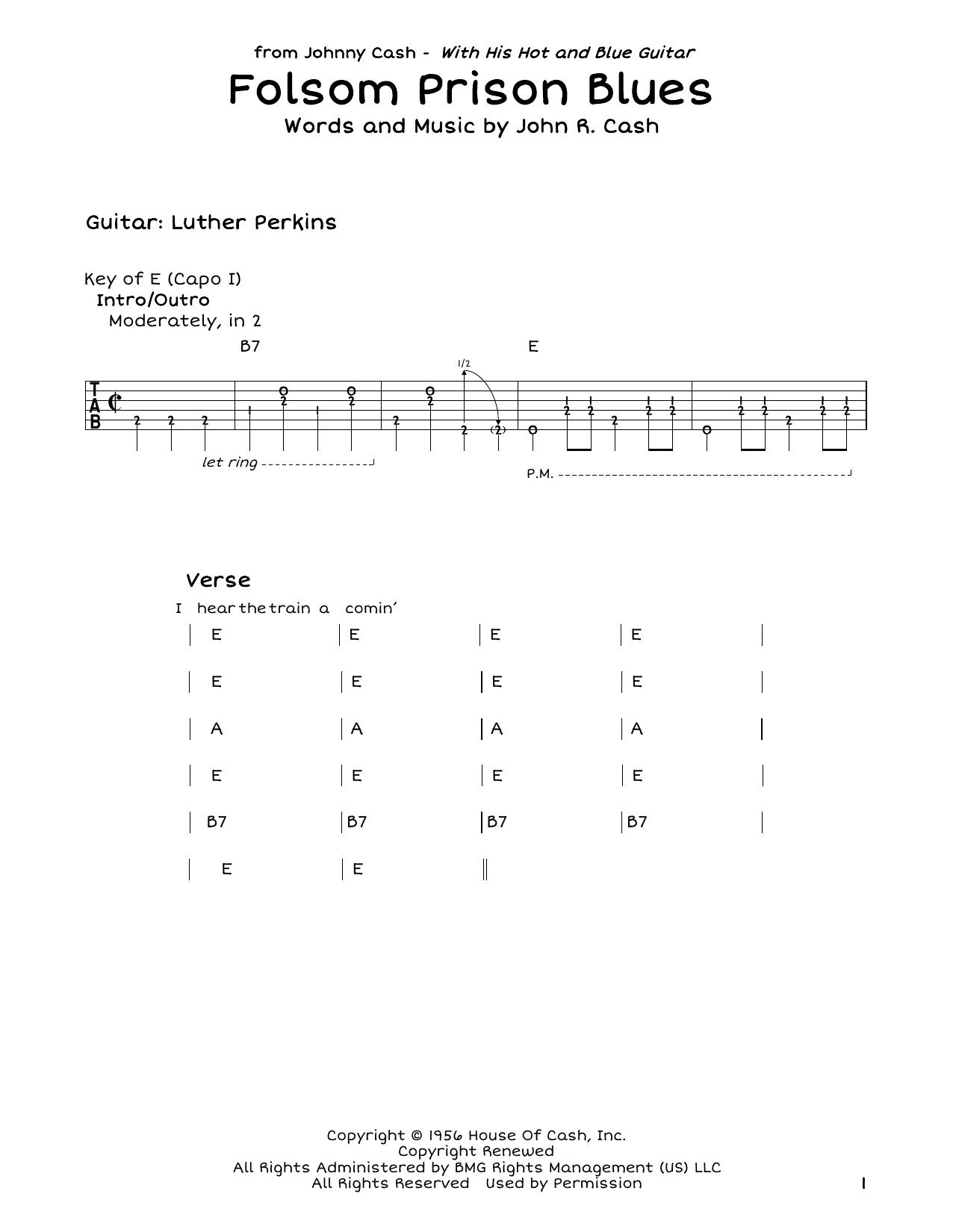Folsom Prison Blues Chords Folsom Prison Blues Sheet Music To Download