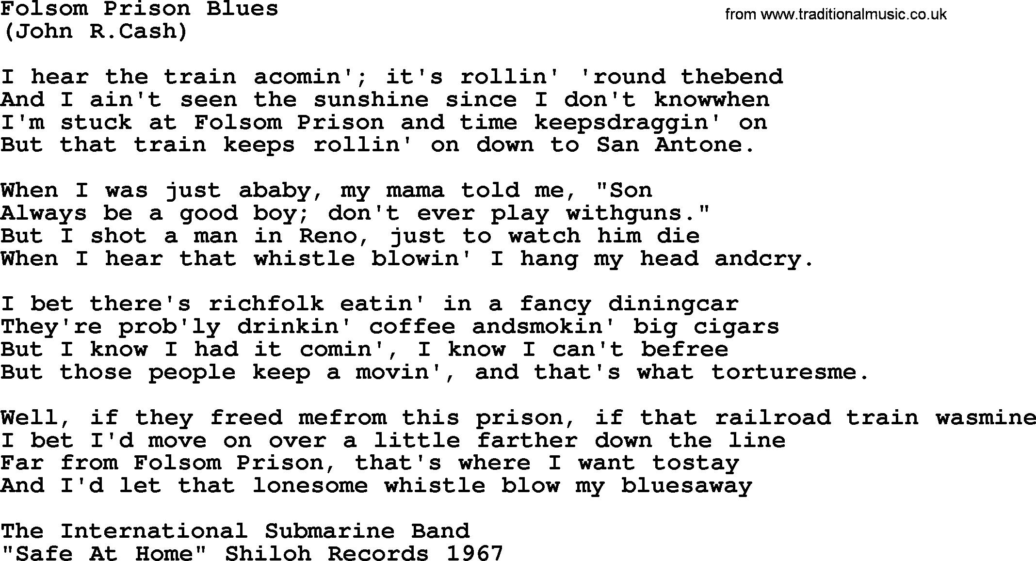 Folsom Prison Blues Chords Folsom Prison Blues The Rds Lyrics With Pdf