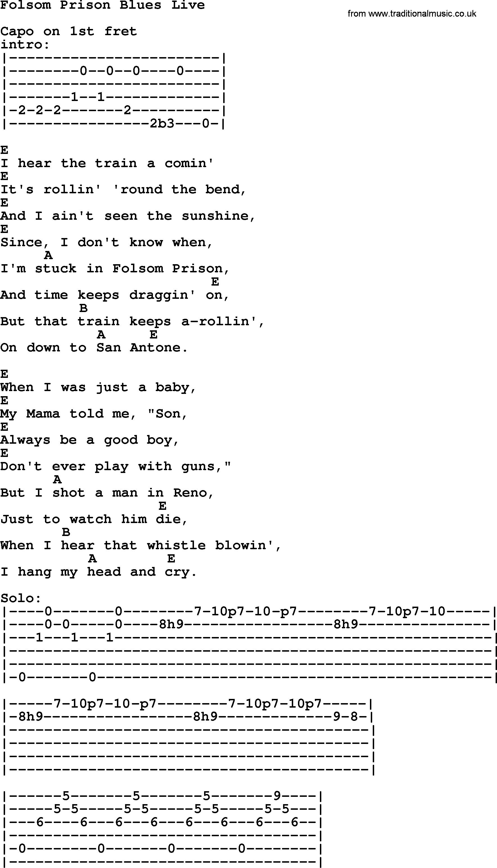 Folsom Prison Blues Chords Johnny Cash Song Folsom Prison Blues Live Lyrics And Chords