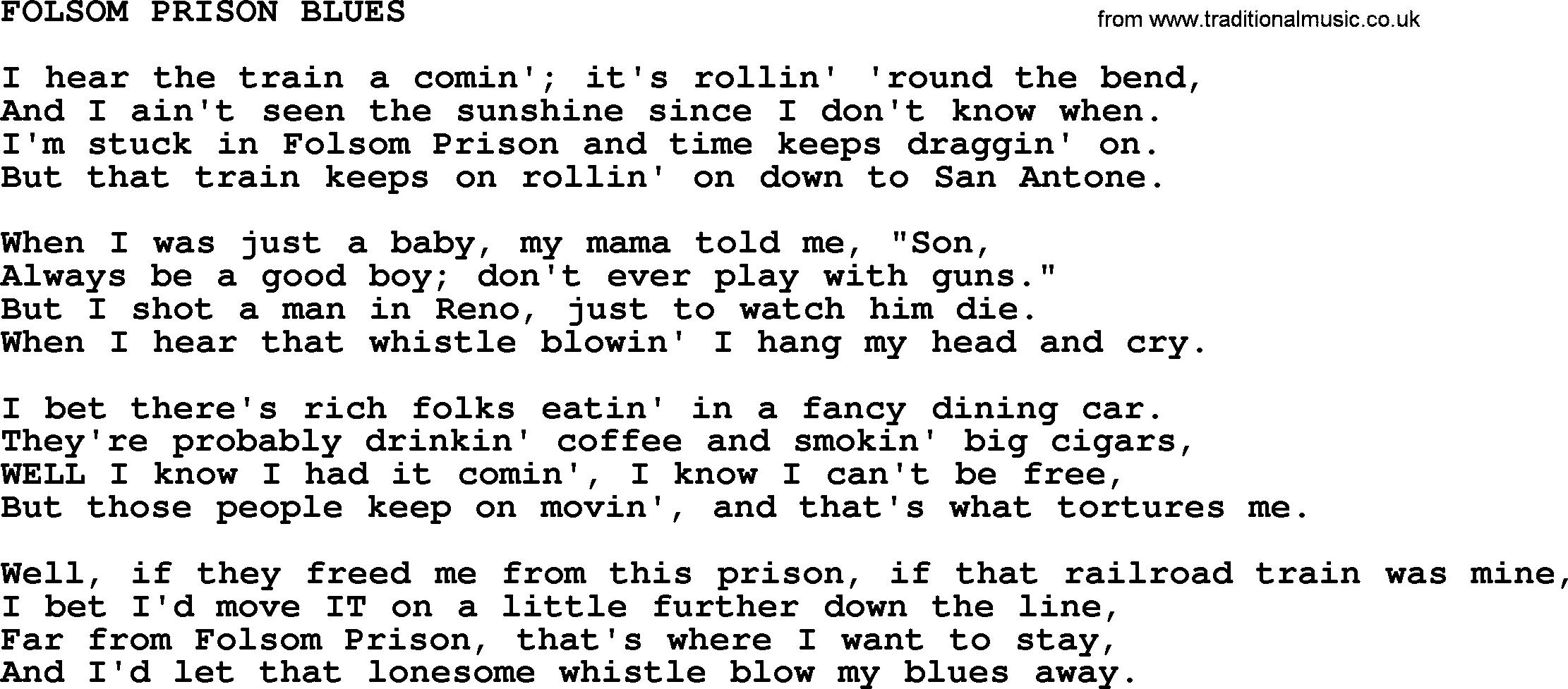Folsom Prison Blues Chords Johnny Cash Song Folsom Prison Blues Lyrics