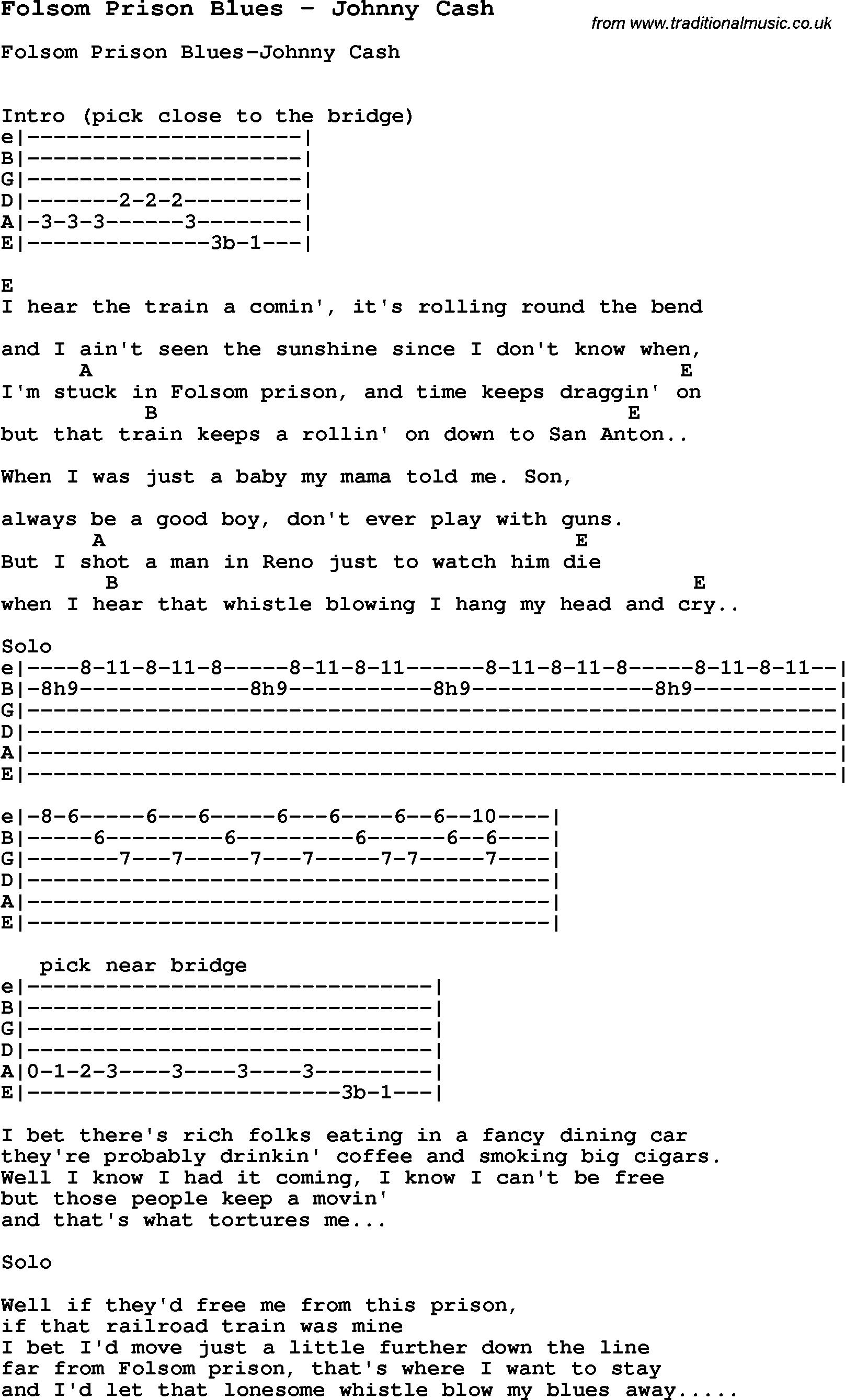 Folsom Prison Blues Chords Scenetesz