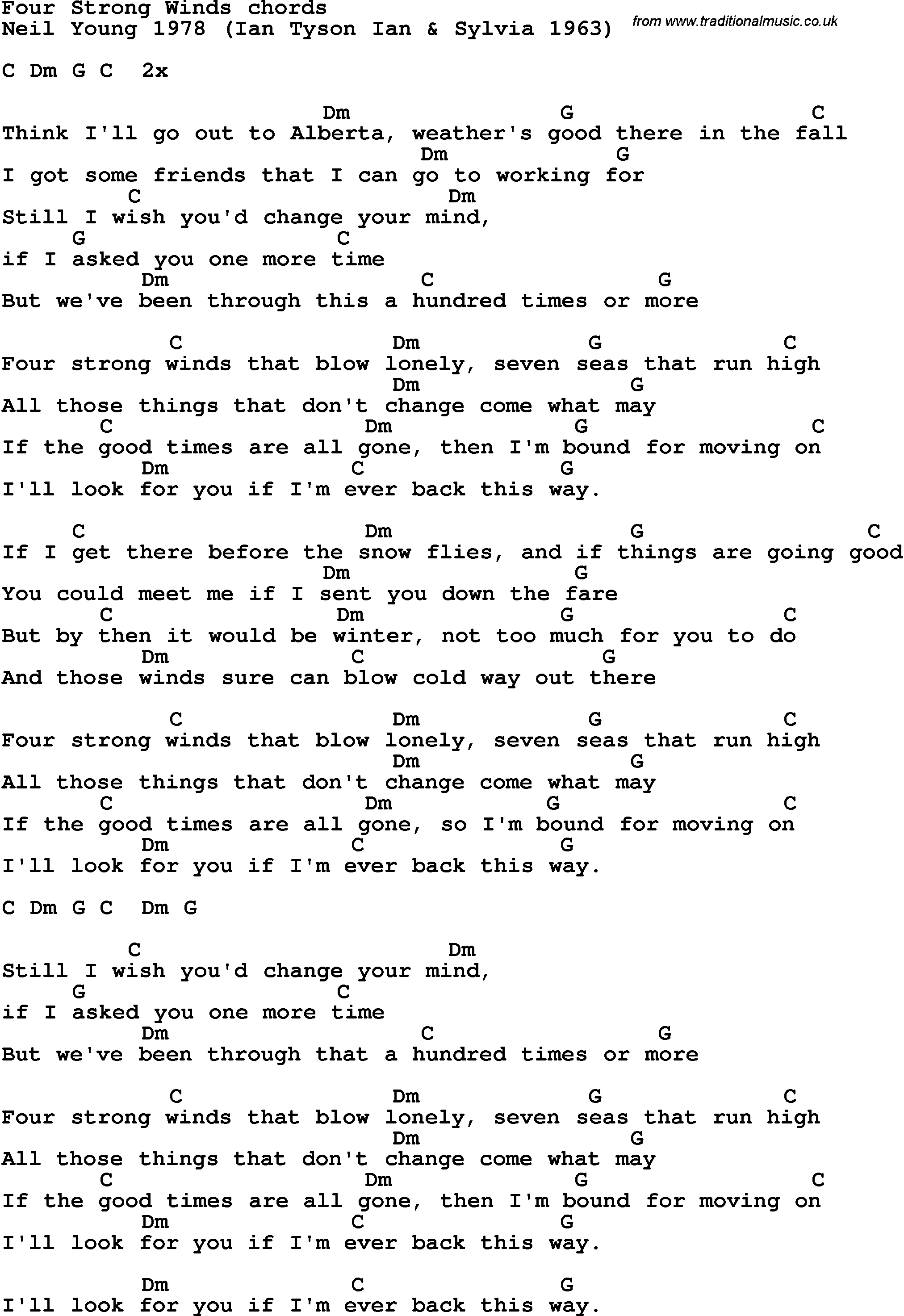 Four Chord Song Song Lyrics With Guitar Chords For Four Strong Winds