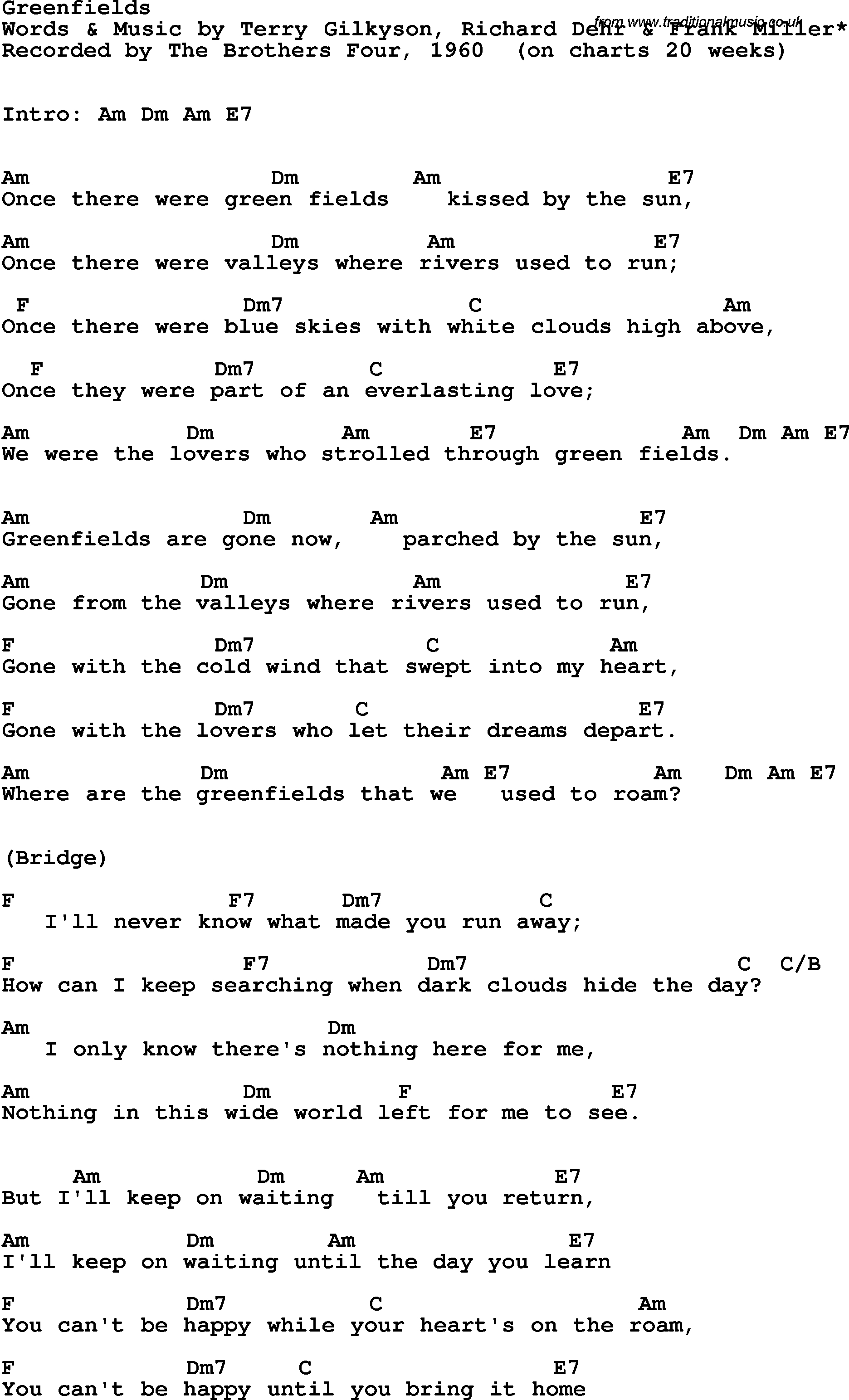 Four Chord Song Song Lyrics With Guitar Chords For Greenfields The Brothers Four 1960