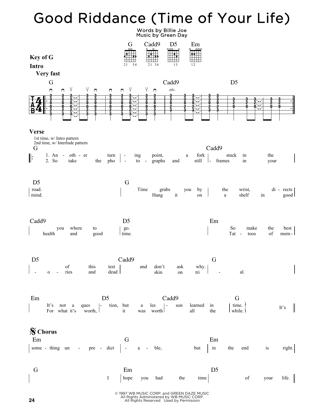 Good Riddance Chords Good Riddance Time Of Your Life Green Day Guitar Lead Sheet