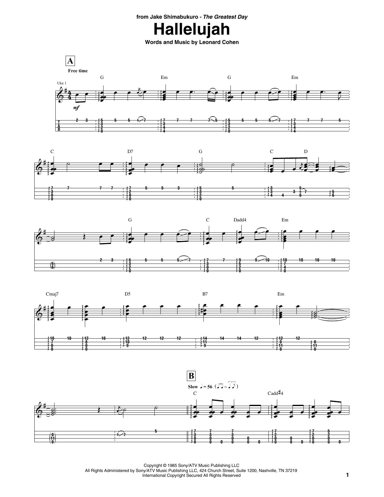 Hallelujah Ukulele Chords Hallelujah Arr Jake Shimabukuro Leonard Cohen Ukulele Tab