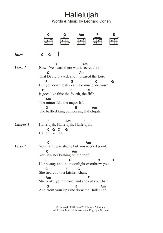 Hallelujah Ukulele Chords Hallelujah Sheet Music Leonard Cohen Guitar Chordslyrics