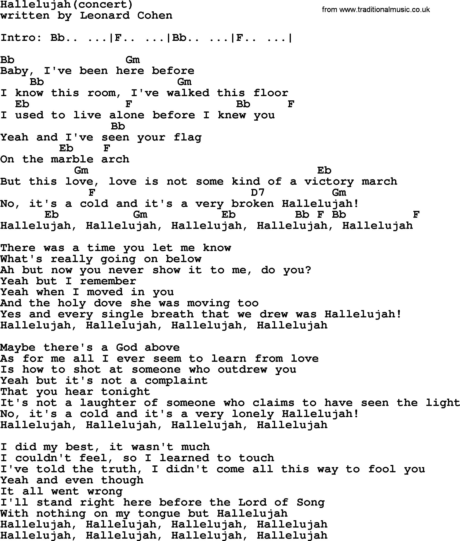 Hallelujah Ukulele Chords Leonard Cohen Song Hallelujahconcert Lyrics And Chords