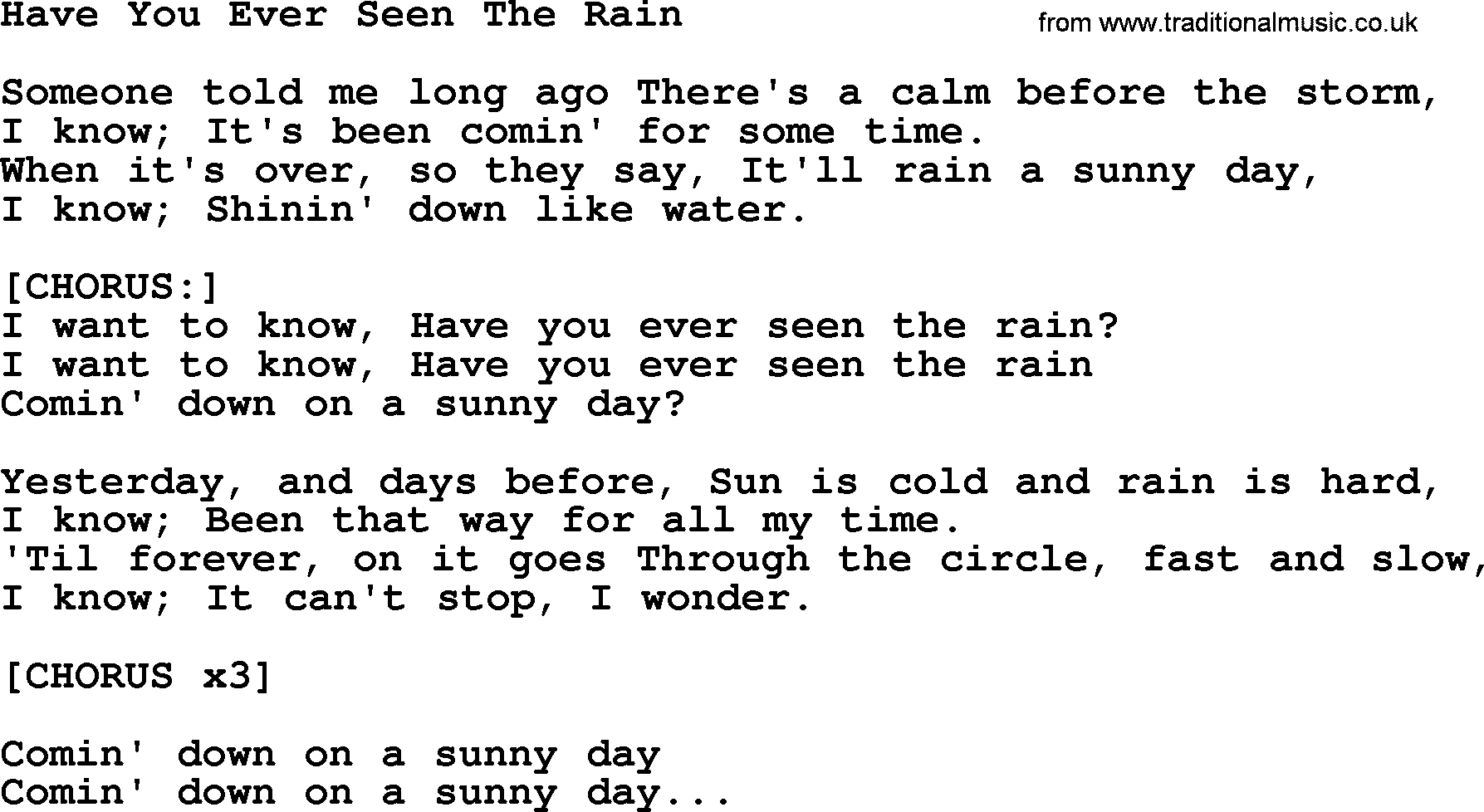 Have You Ever Seen The Rain Chords Willie Nelson Song Have You Ever Seen The Rain Lyrics
