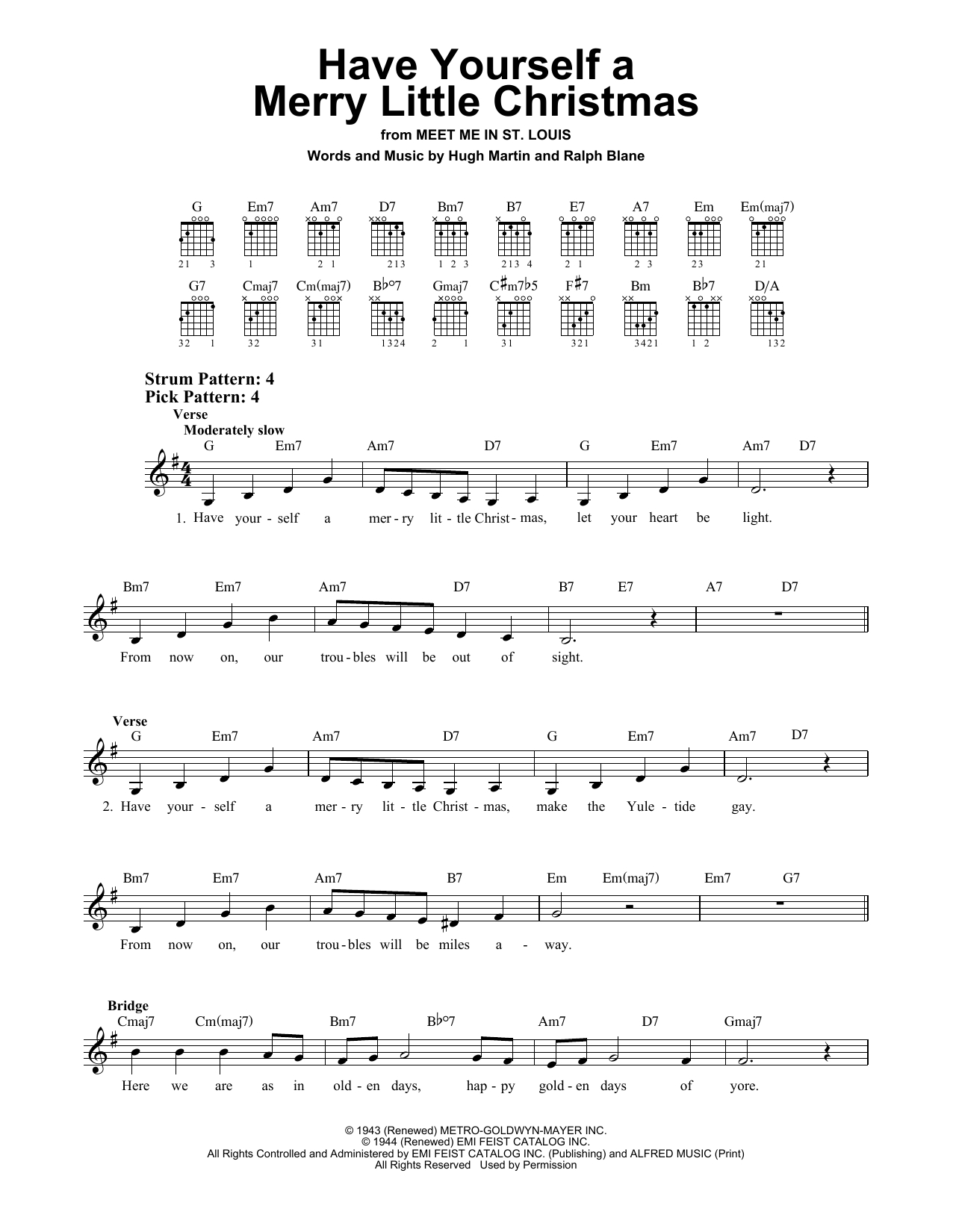 Have Yourself A Merry Little Christmas Chords Have Yourself A Merry Little Christmas Easy Guitar Sheet Music
