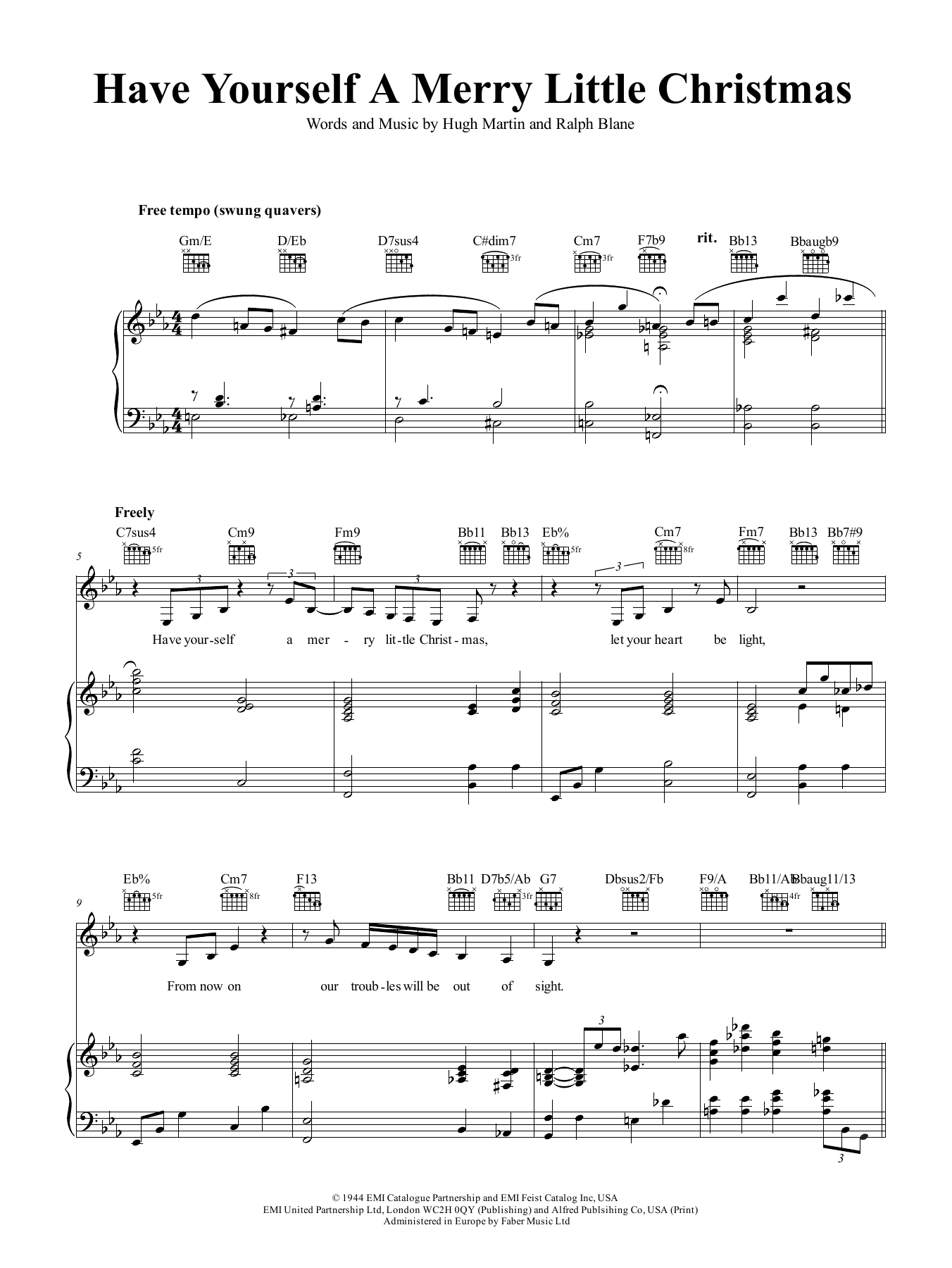 Have Yourself A Merry Little Christmas Chords Have Yourself A Merry Little Christmas Frank Sinatra Piano Vocal Guitar Right Hand Melody Digital Sheet Music