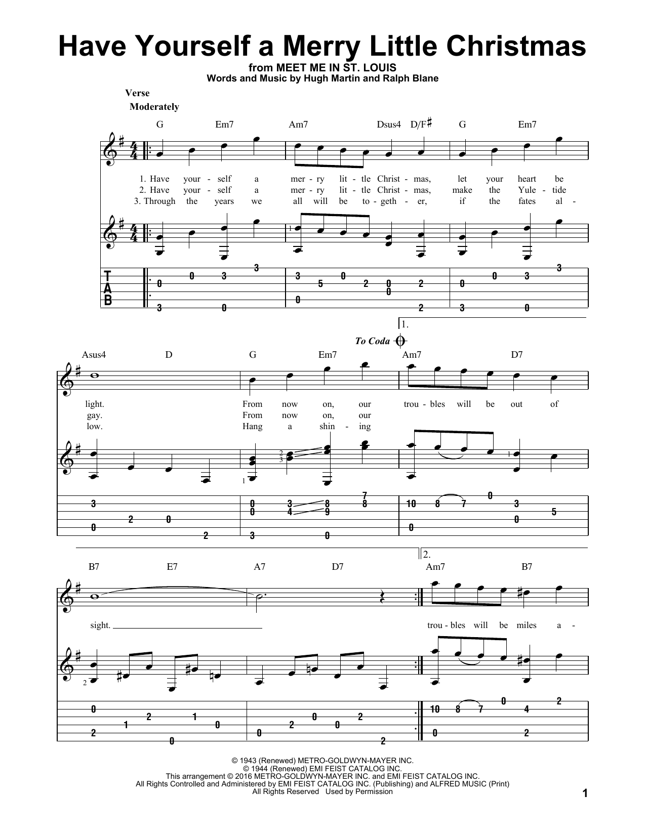 Have Yourself A Merry Little Christmas Chords Have Yourself A Merry Little Christmas Ralph Blane Solo Guitar