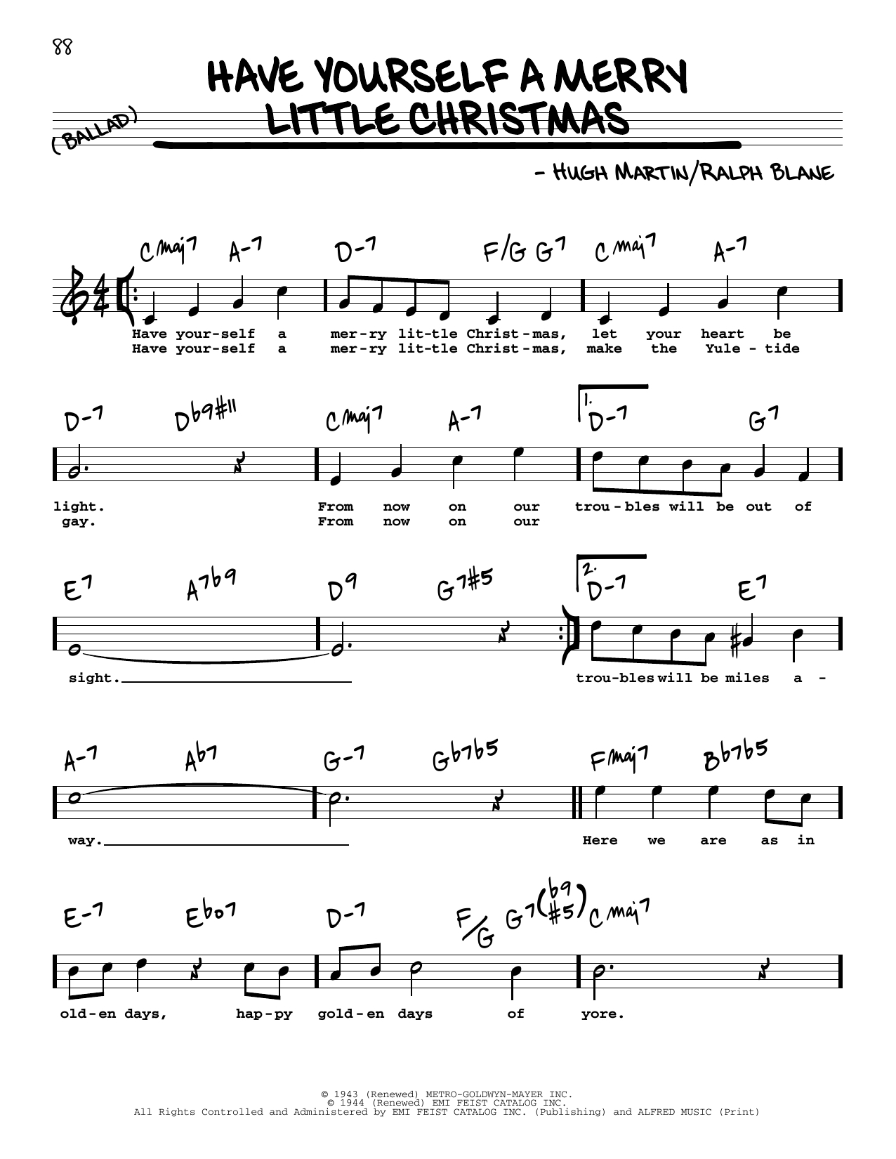 Have Yourself A Merry Little Christmas Chords Have Yourself A Merry Little Christmas Sheet Music Hugh Martin