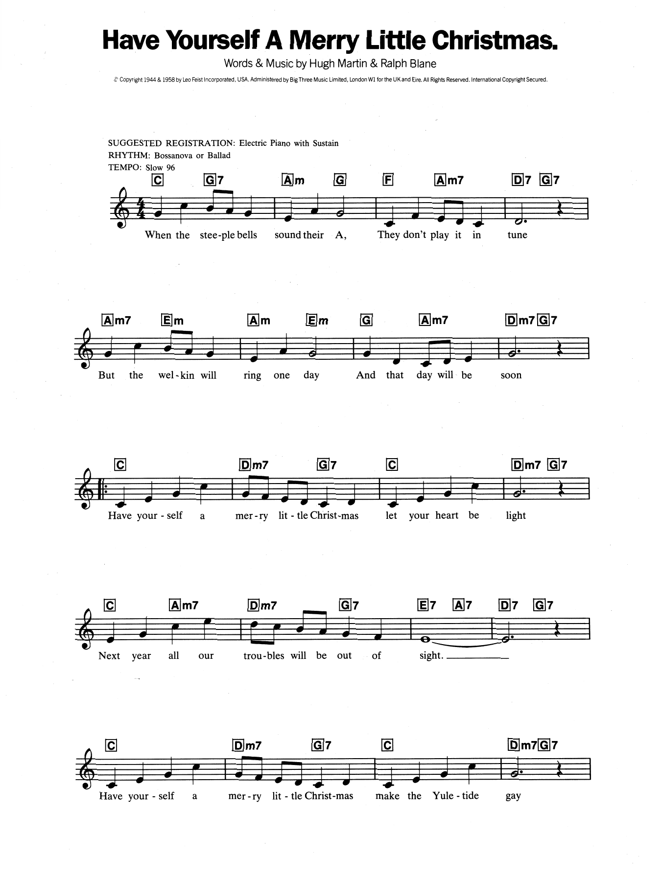 Have Yourself A Merry Little Christmas Chords Sheet Music Digital Files To Print Licensed Hugh Martin Digital