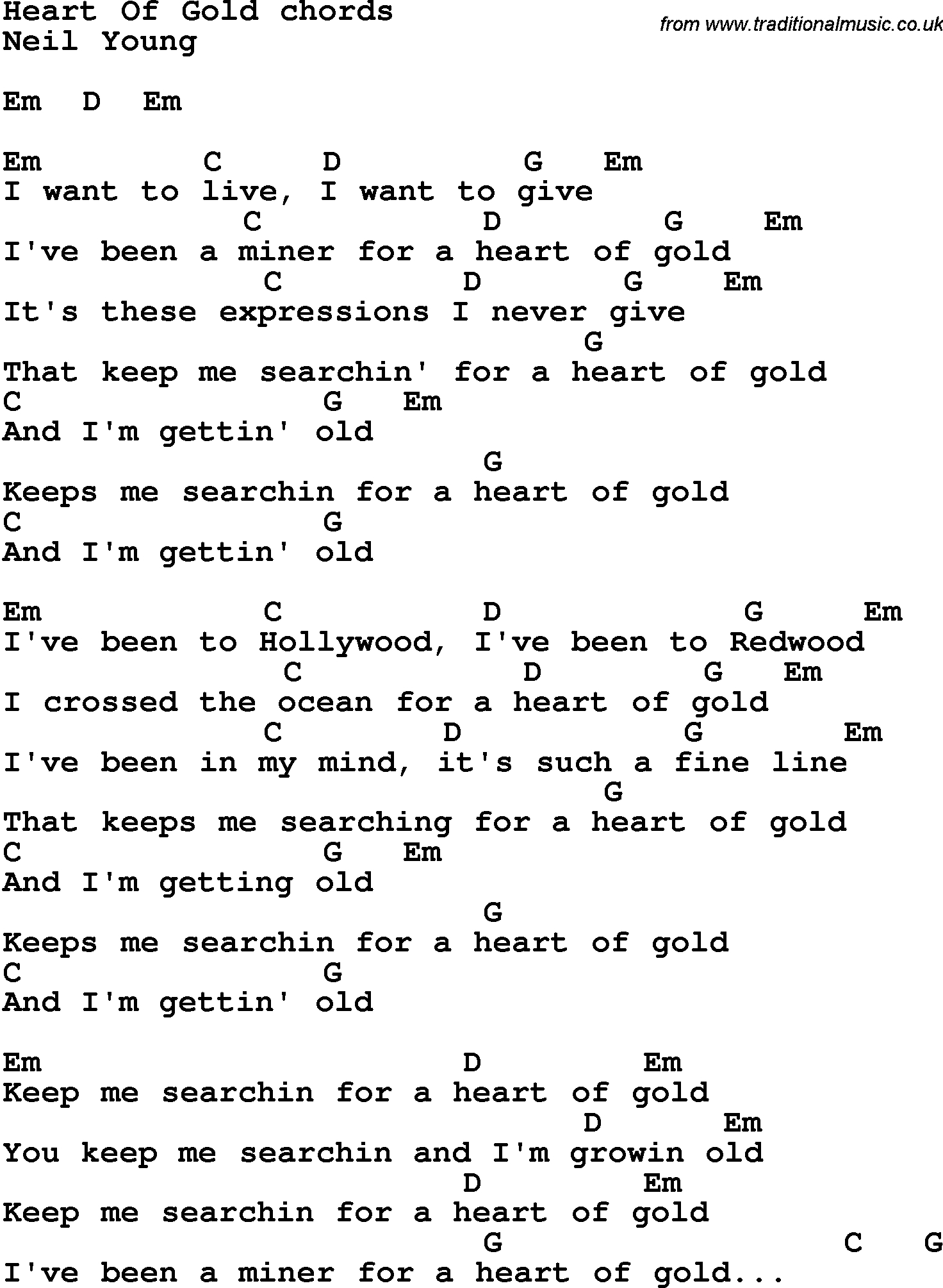 Heart Of Gold Chords Song Lyrics With Guitar Chords For Heart Of Gold