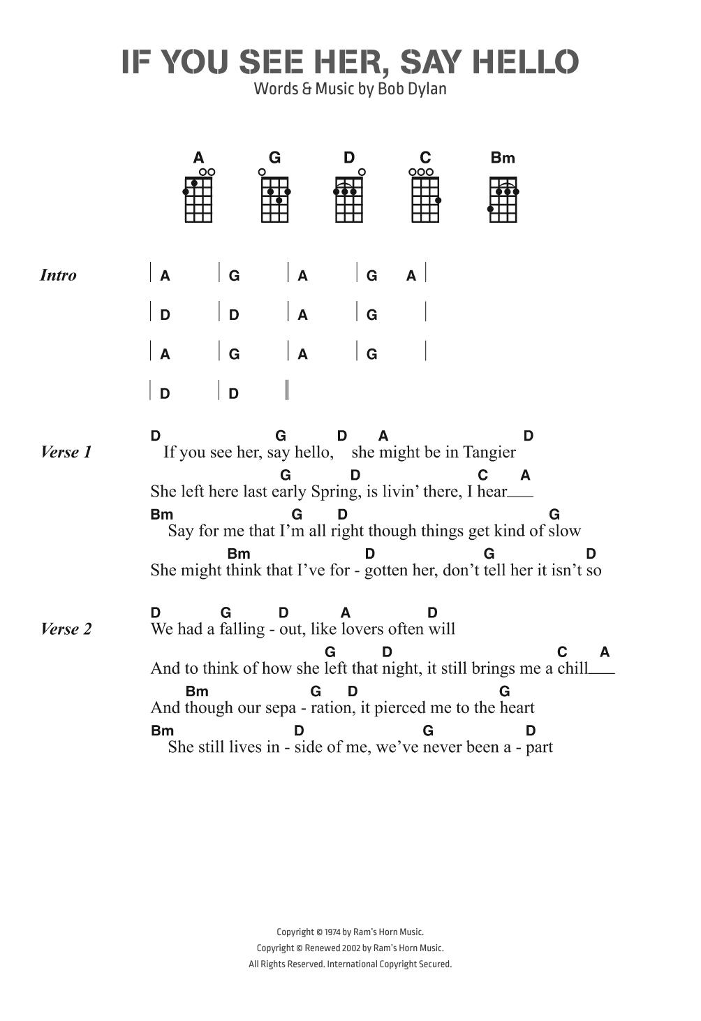 Hello Ukulele Chords If You See Her Say Hello Bob Dylan Ukulele Chordslyrics Digital Sheet Music