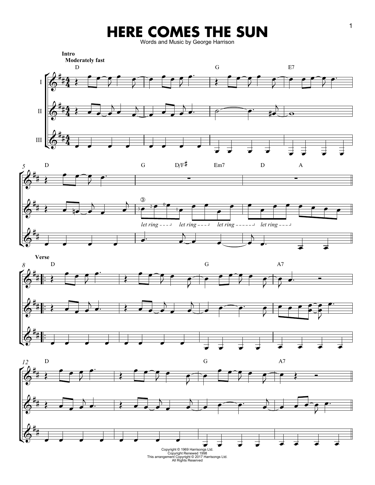 Here Comes The Sun Chords Here Comes The Sun Guitar Ensemble Print Sheet Music Now