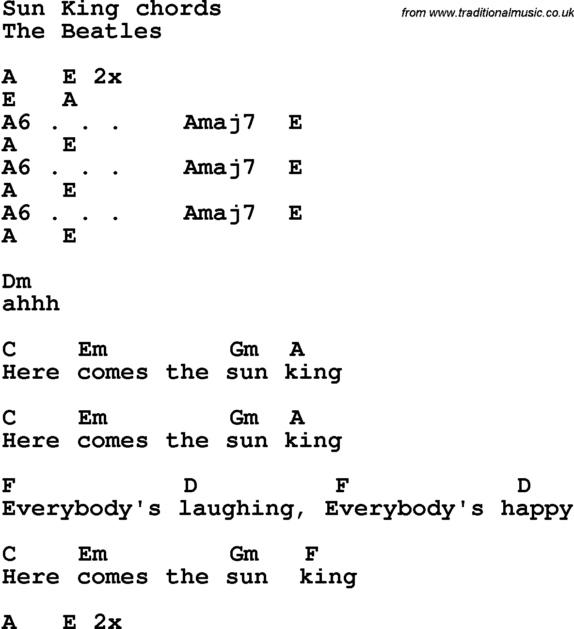 Here Comes The Sun Chords Song Lyrics With Guitar Chords For Sun King The Beatles
