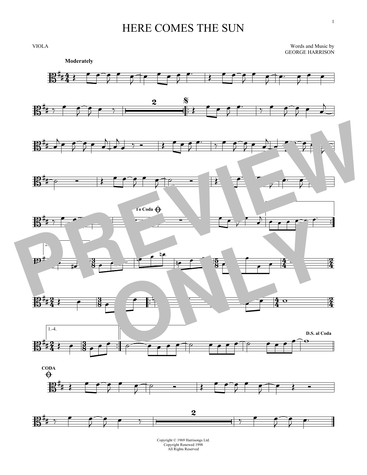 Here Comes The Sun Chords The Beatles Here Comes The Sun Sheet Music Notes Chords Download Printable Viola Sku 171202