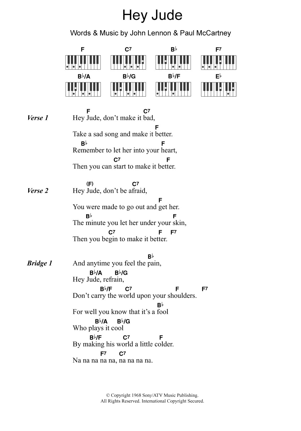 Hey Jude Chords Hey Jude The Beatles Piano Vocal Guitar Right Hand Melody Digital Sheet Music