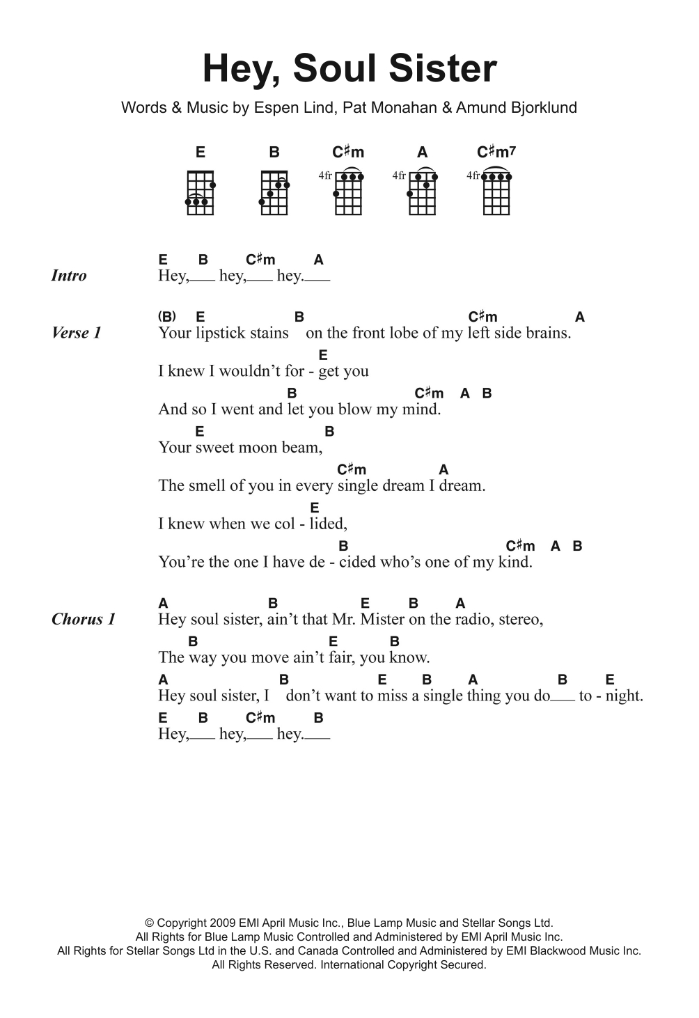 Hey Soul Sister Chords Hey Soul Sister Train Piano Vocal Guitar Right Hand Melody Digital Sheet Music