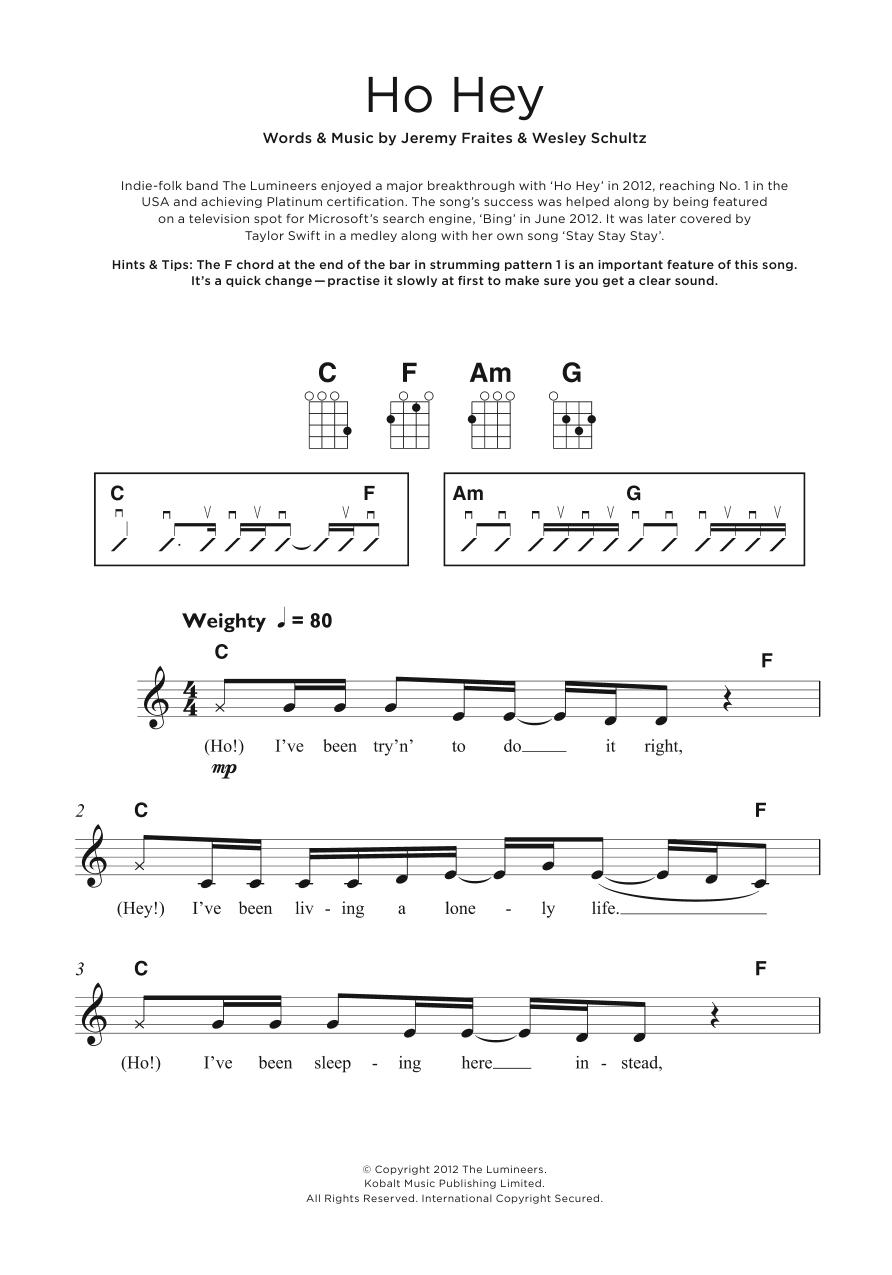 Ho Hey Chords Ho Hey The Lumineers Ukulele Guitar Instructor