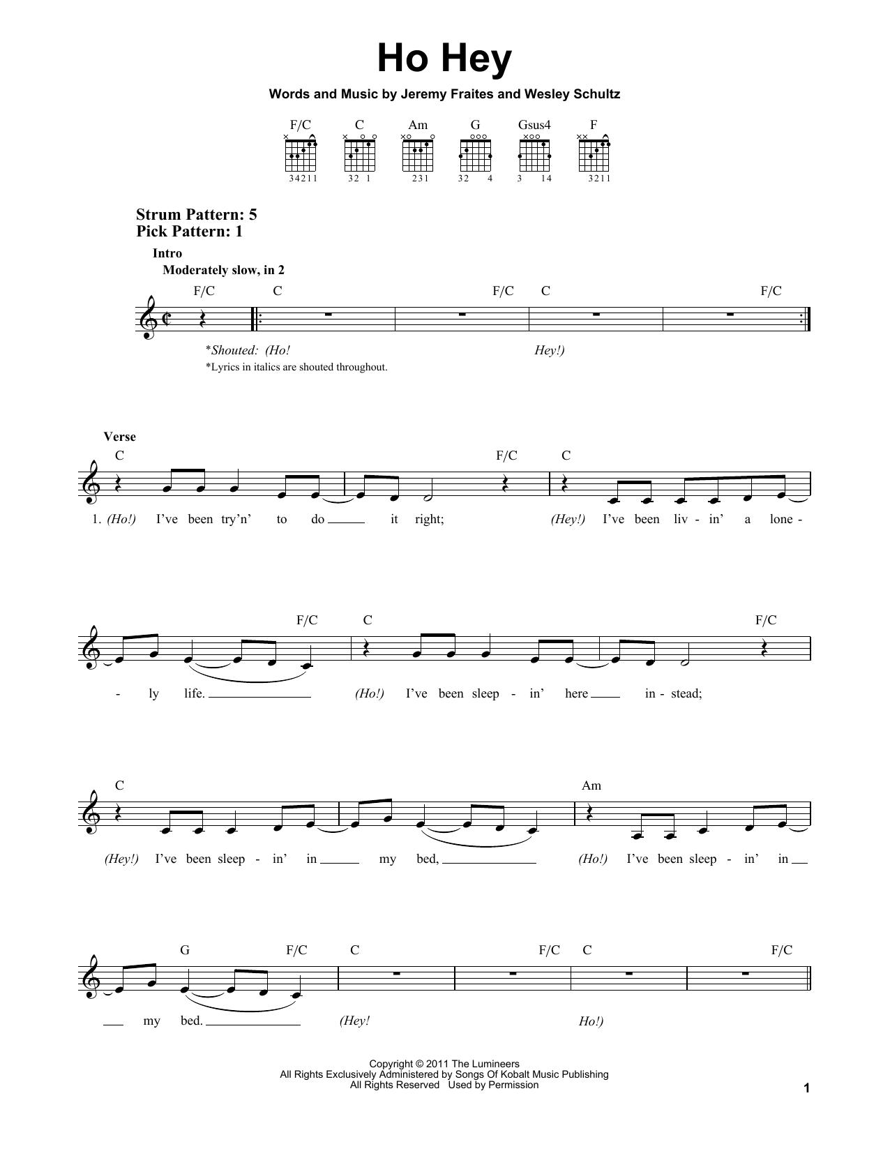 Ho Hey Chords The Lumineers Ho Hey Sheet Music Notes Chords Download Printable Easy Guitar Sku 156335
