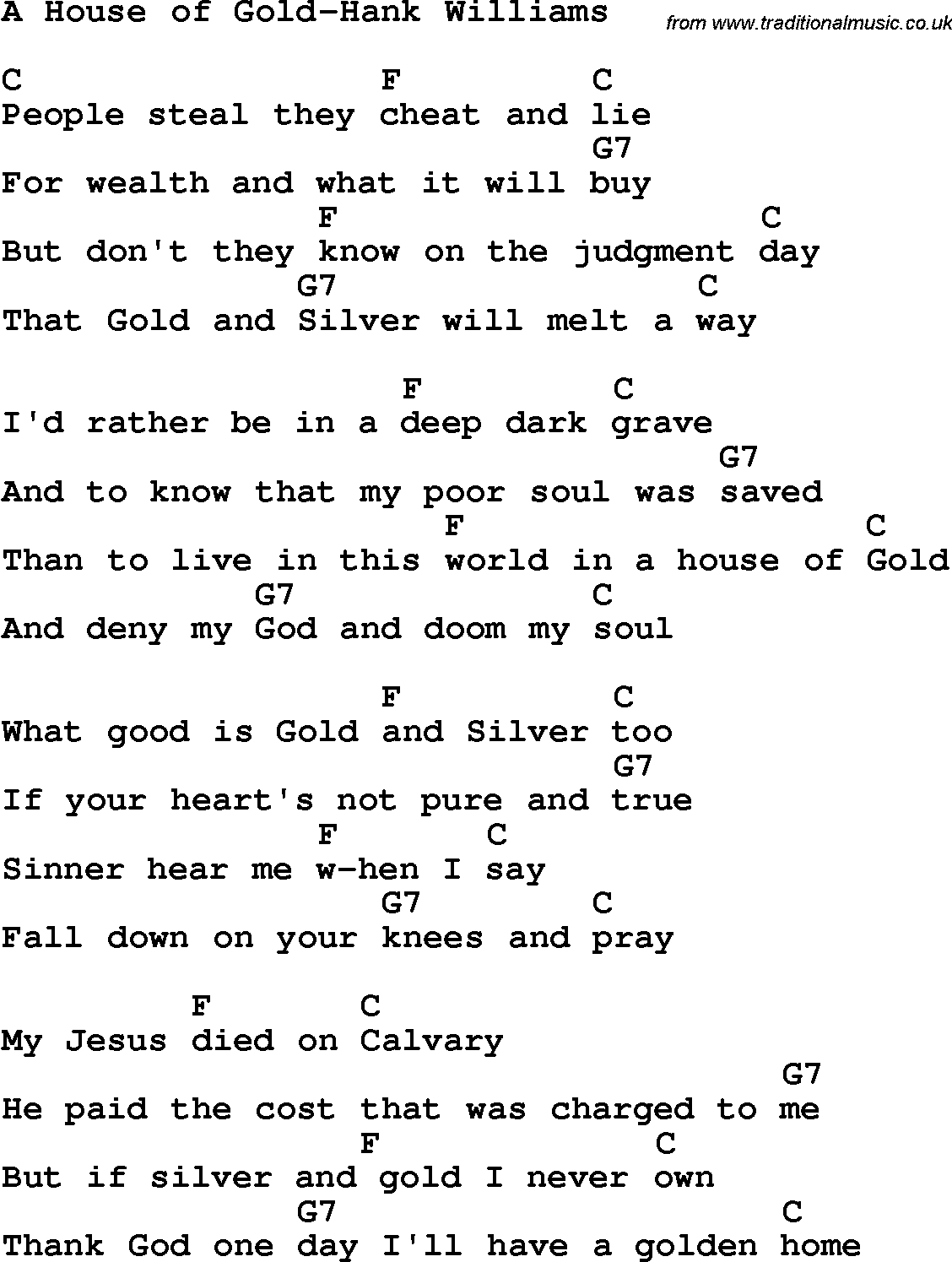 House Of Gold Chords Country Southern And Bluegrass Gospel Song A House Of Gold Hank