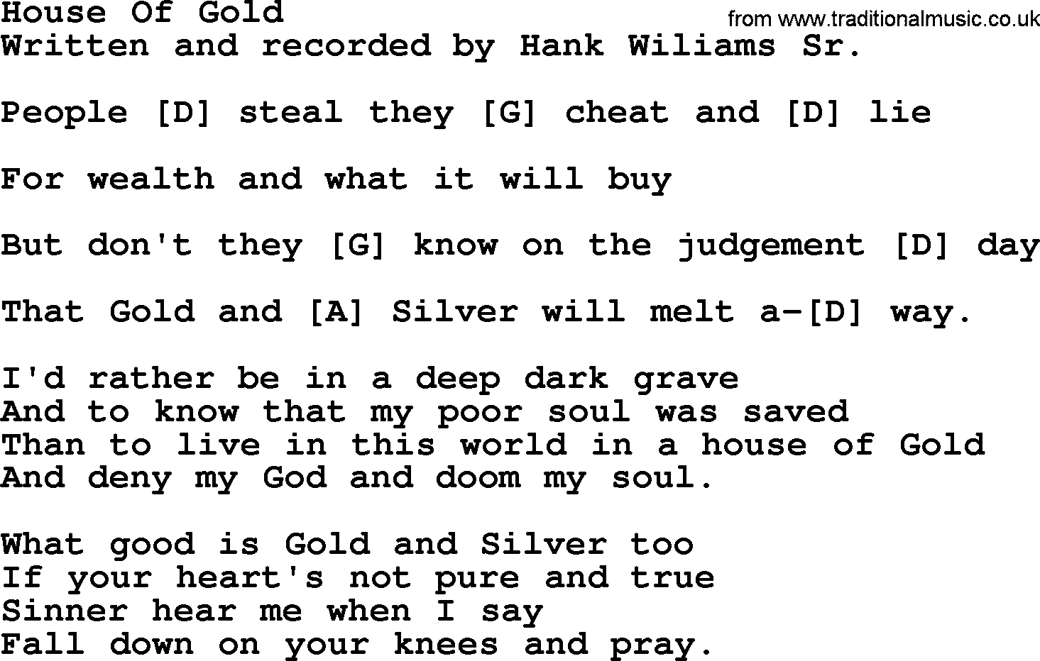House Of Gold Chords Hank Williams Song House Of Gold Lyrics And Chords