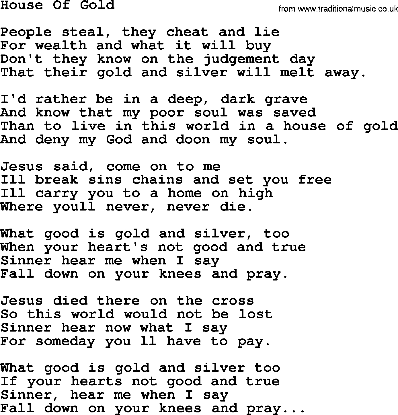 House Of Gold Ukulele Chords Hank Williams Song House Of Gold Lyrics