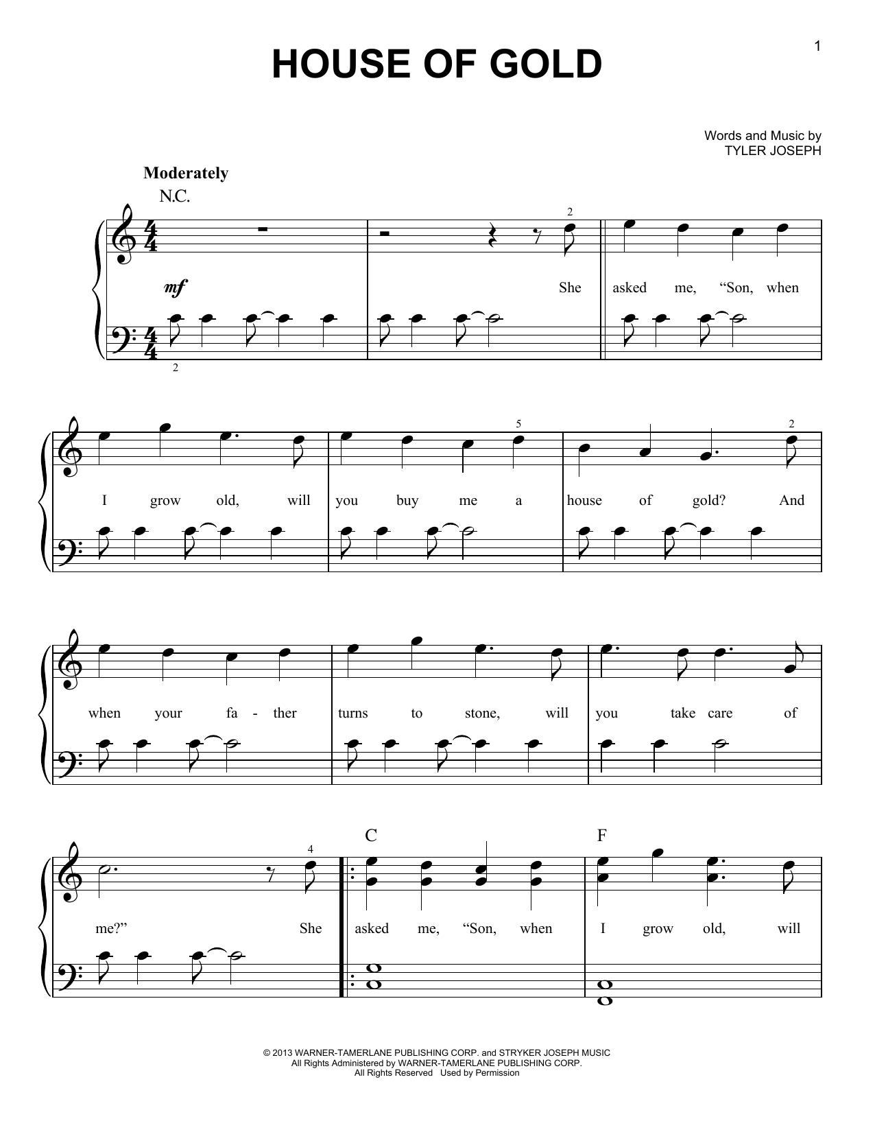 House Of Gold Ukulele Chords Sheet Music Digital Files To Print Licensed Tyler Joseph Digital