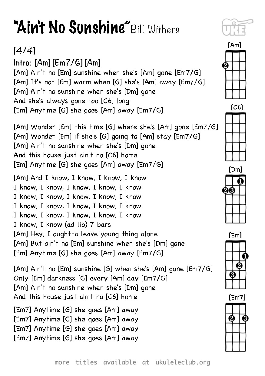 House Of Gold Ukulele Chords Ukulele Chords Aint No Sunshine Bill Withers