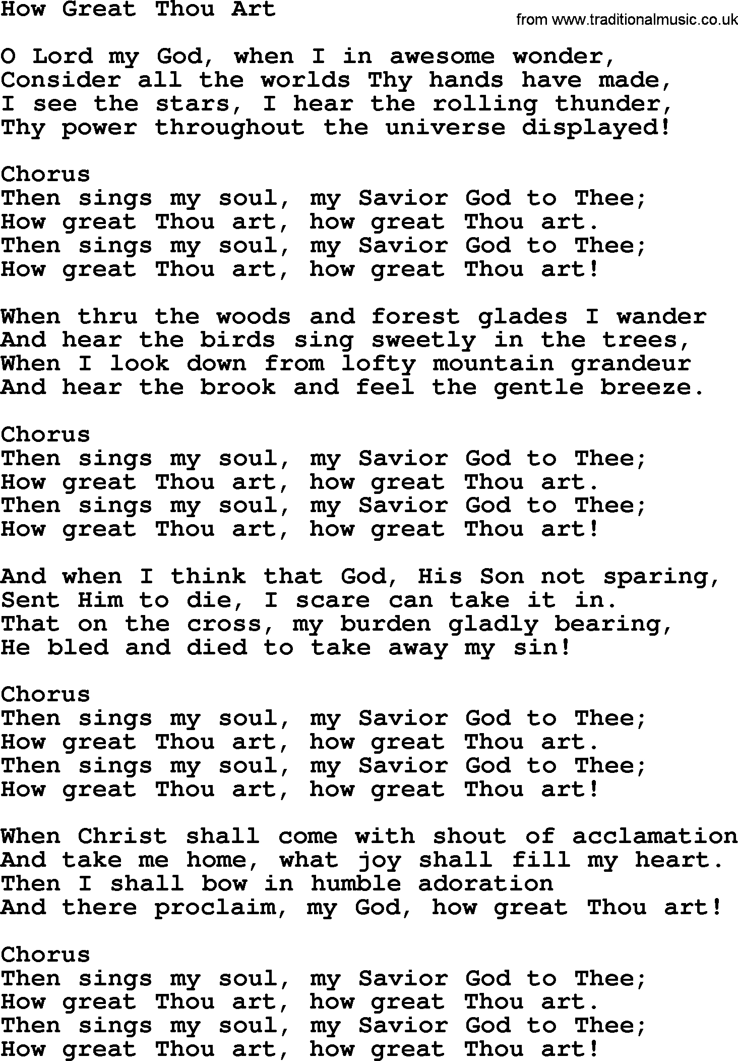 How Great Thou Art Chords Baptist Hymnal Christian Song How Great Thou Art Lyrics With Pdf