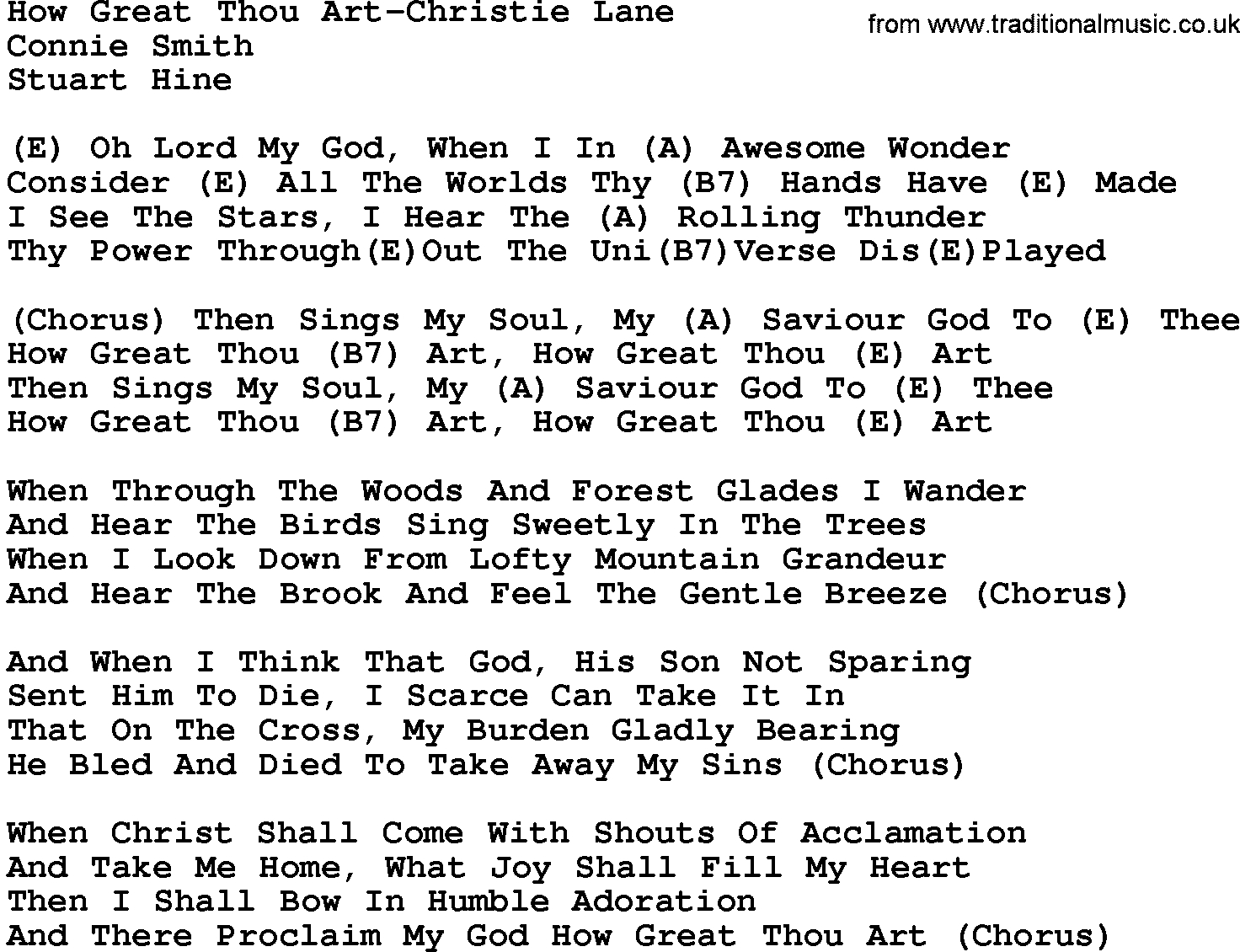 How Great Thou Art Chords Country Musichow Great Thou Art Christie Lane Lyrics And Chords