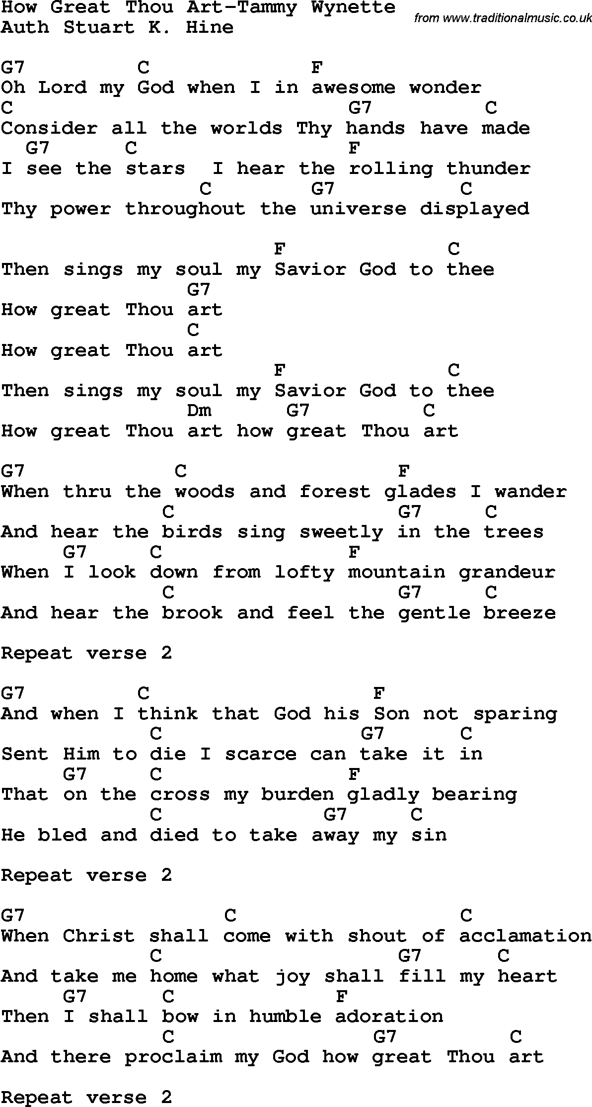 How Great Thou Art Chords Country Southern And Bluegrass Gospel Song How Great Thou Art Tammy