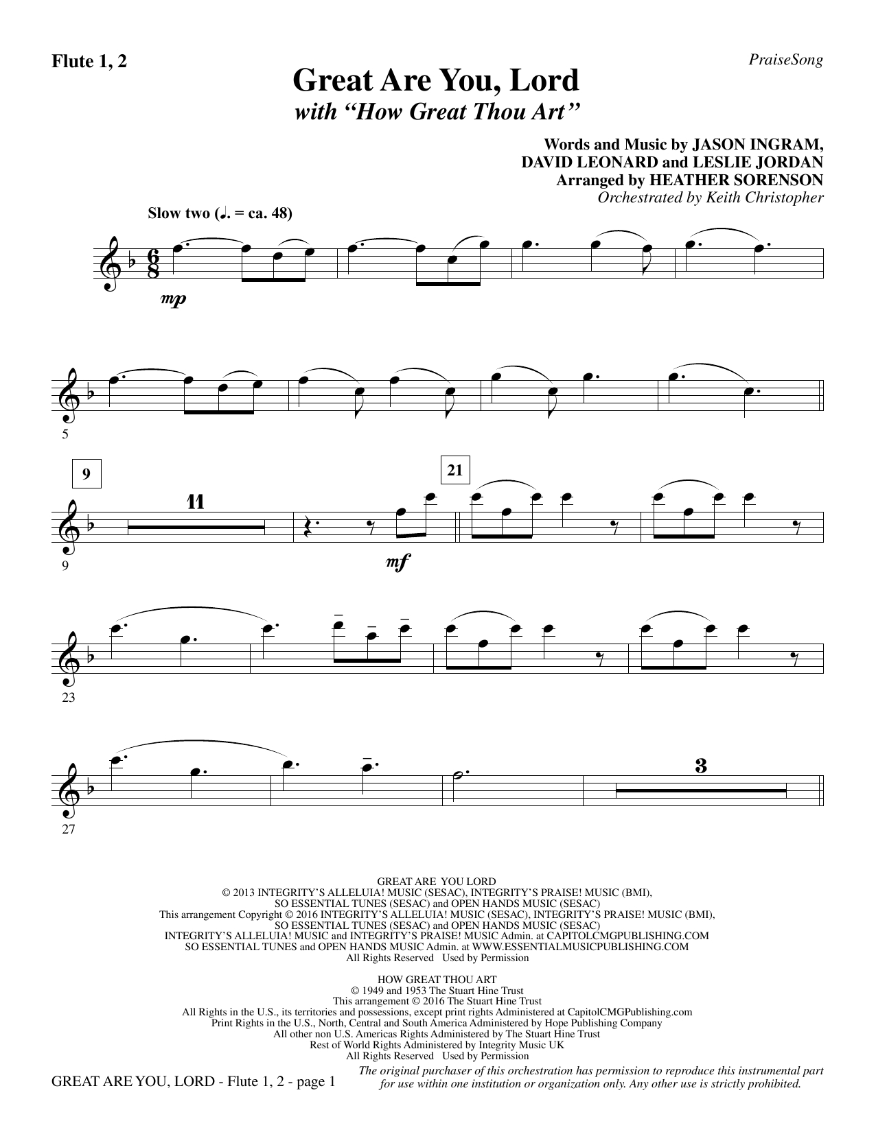How Great Thou Art Chords Great Are You Lord With How Great Thou Art Flute 1 2 Heather Sorenson Choir Instrumental Pak Digital Sheet Music