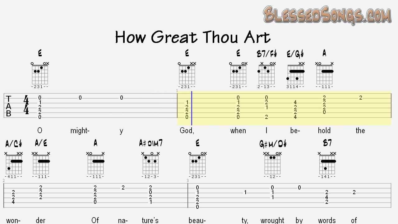 How Great Thou Art Chords Learn Hymns On Guitar How Great Thou Art Tablature And Chords