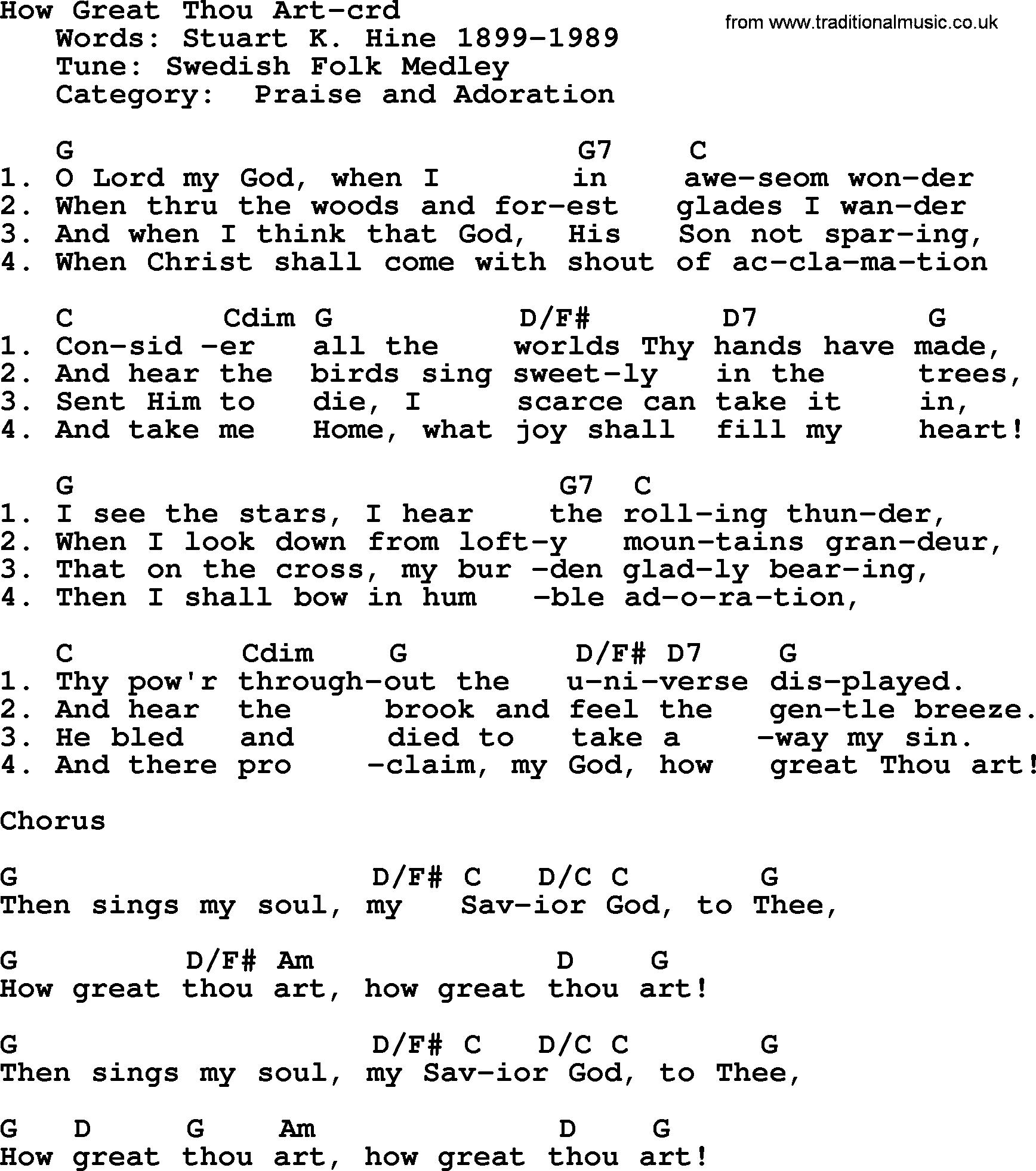 How Great Thou Art Chords Top 500 Hymn How Great Thou Art Lyrics Chords And Pdf