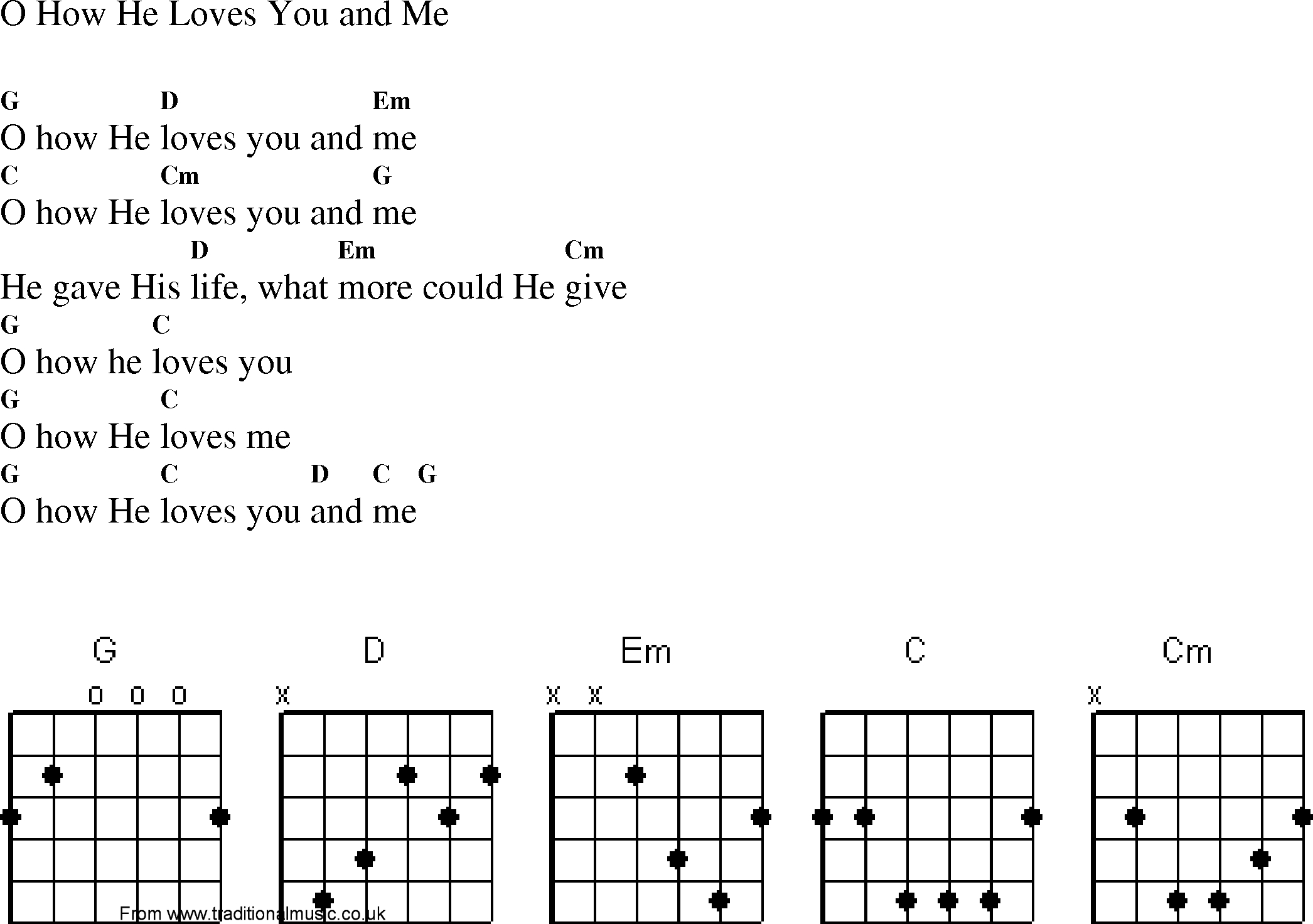 How He Loves Chords Christian Gospel Worship Song Lyrics With Chords O How He Loves