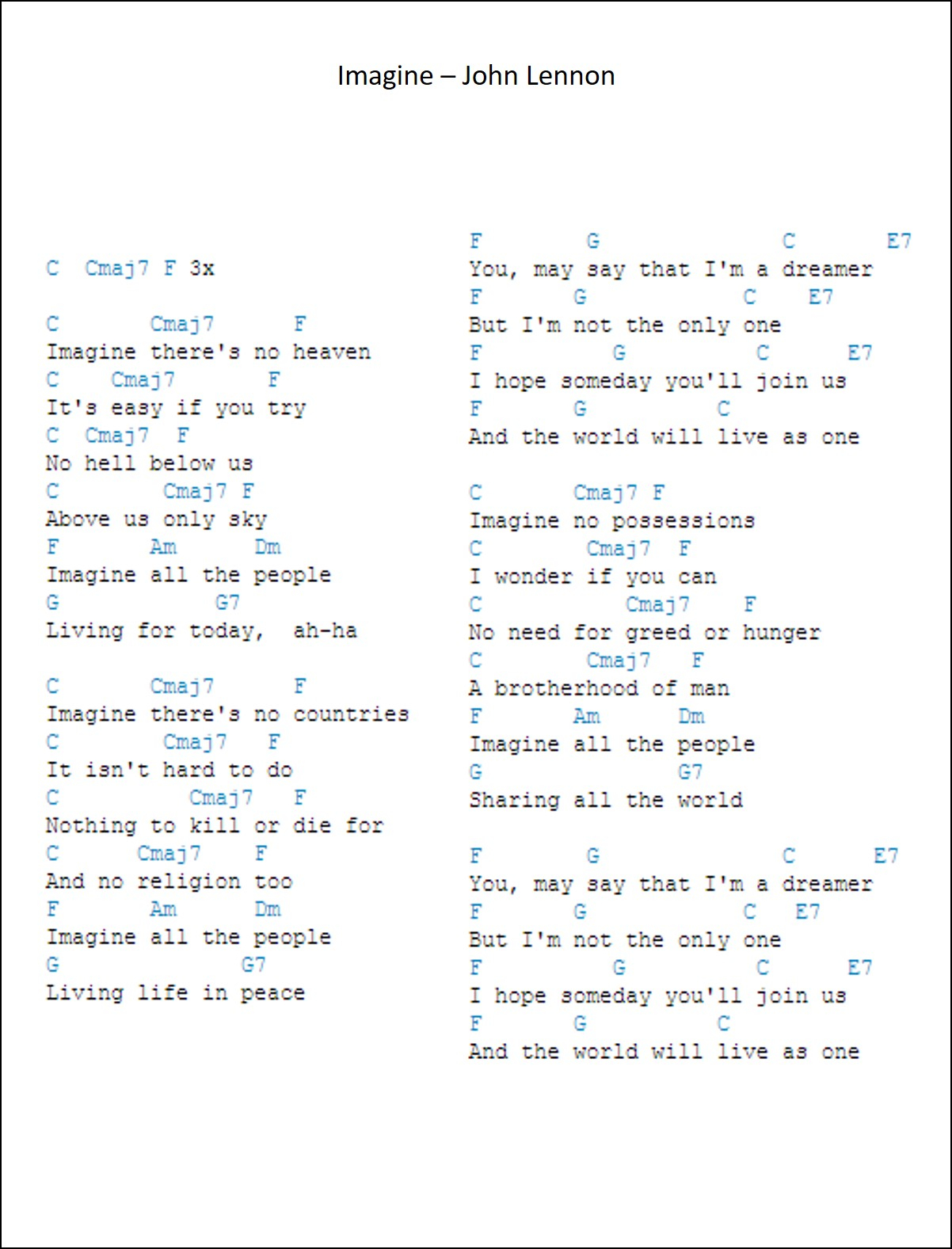 I Can Only Imagine Chords Guitar Gear Reviews Imagine Chords And Lyrics John Lennnon