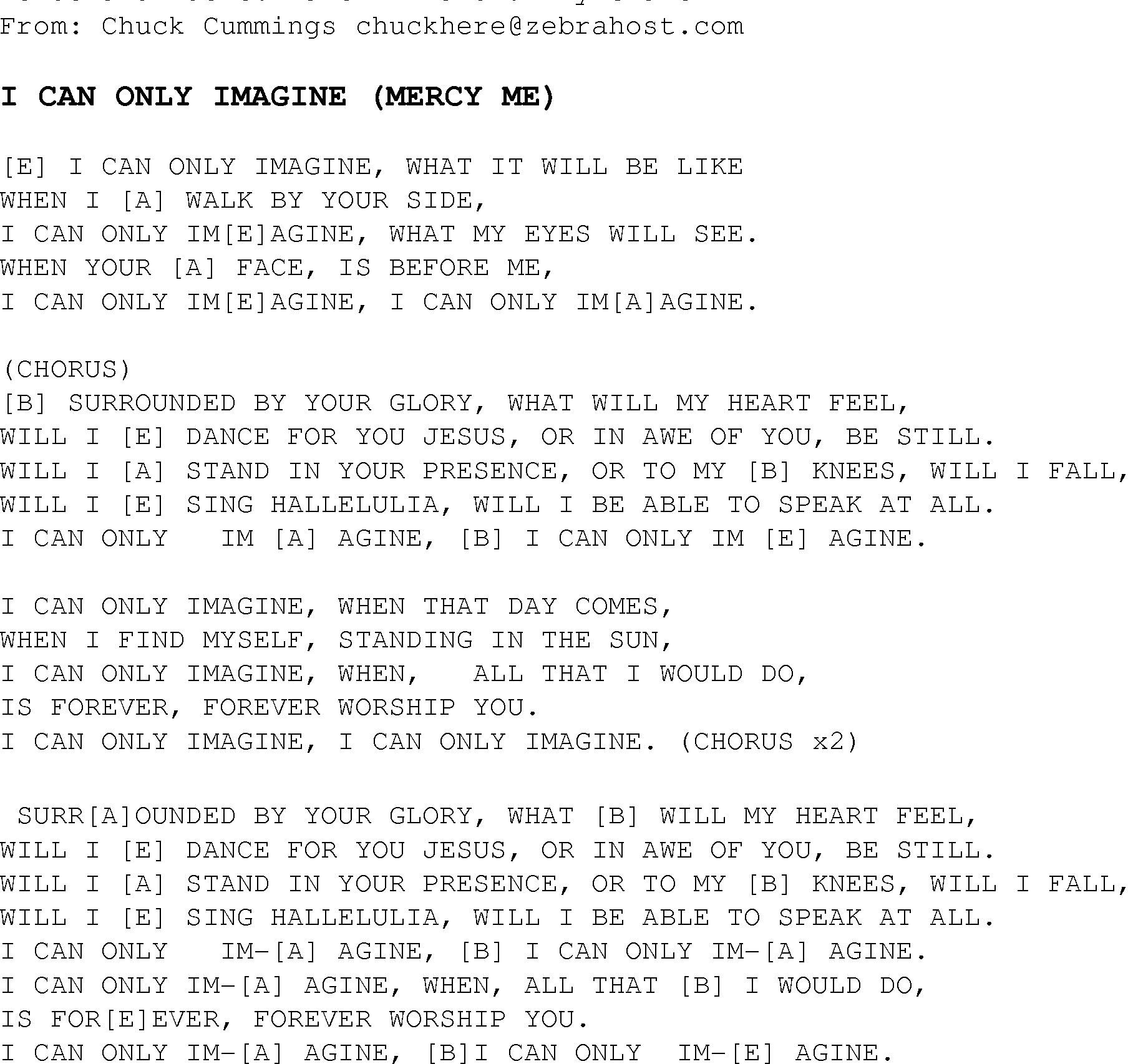 I Can Only Imagine Chords I Can Only Imagine Christian Gospel Song Lyrics And Chords