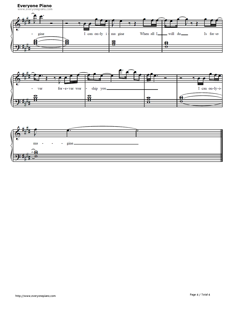 I Can Only Imagine Chords I Can Only Imagine Mercyme Free Piano Sheet Music Piano Chords