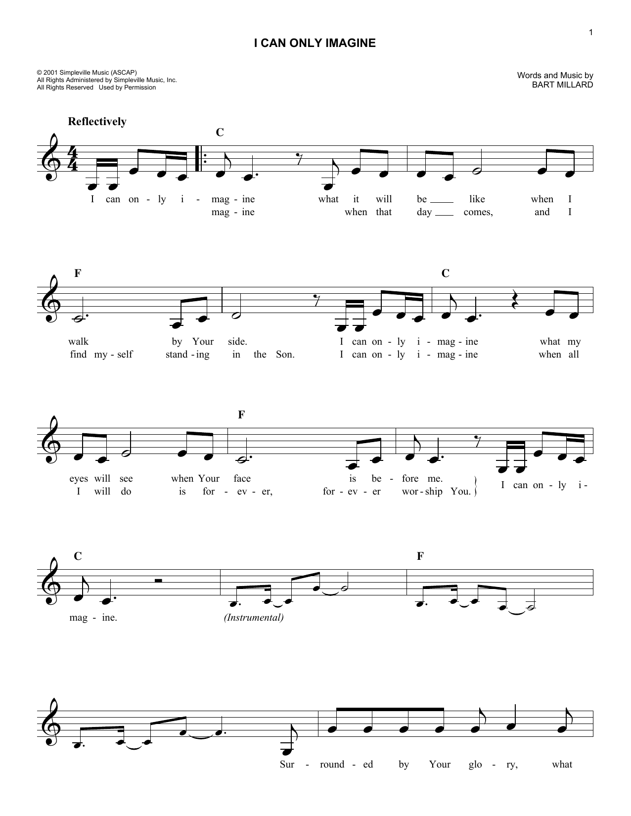I Can Only Imagine Chords I Can Only Imagine Mercyme Piano Vocal Guitar Right Hand Melody Digital Sheet Music